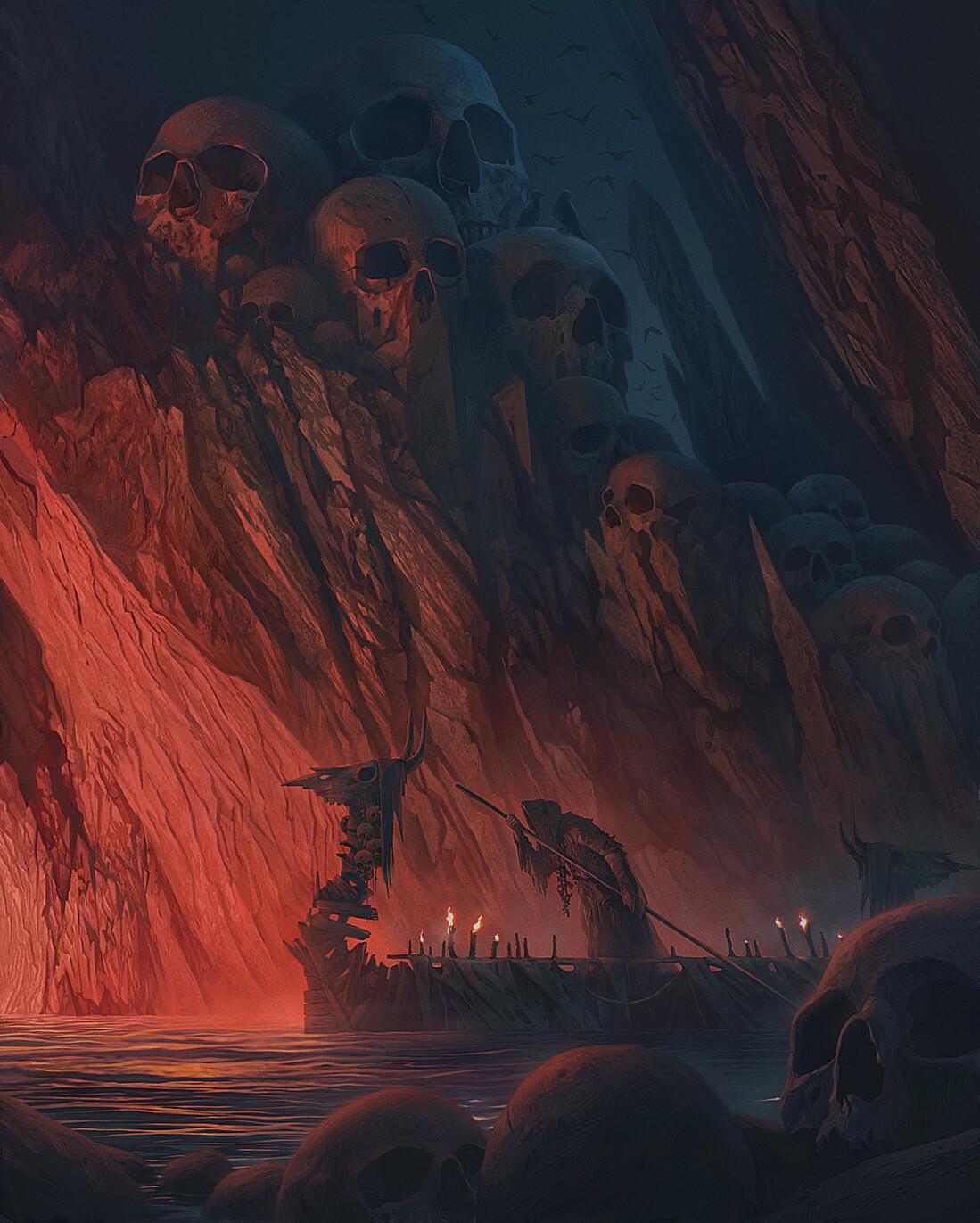 Alexey Egorov River Styx Artwork Fantasy Art Skull ArtStation 1099x1371