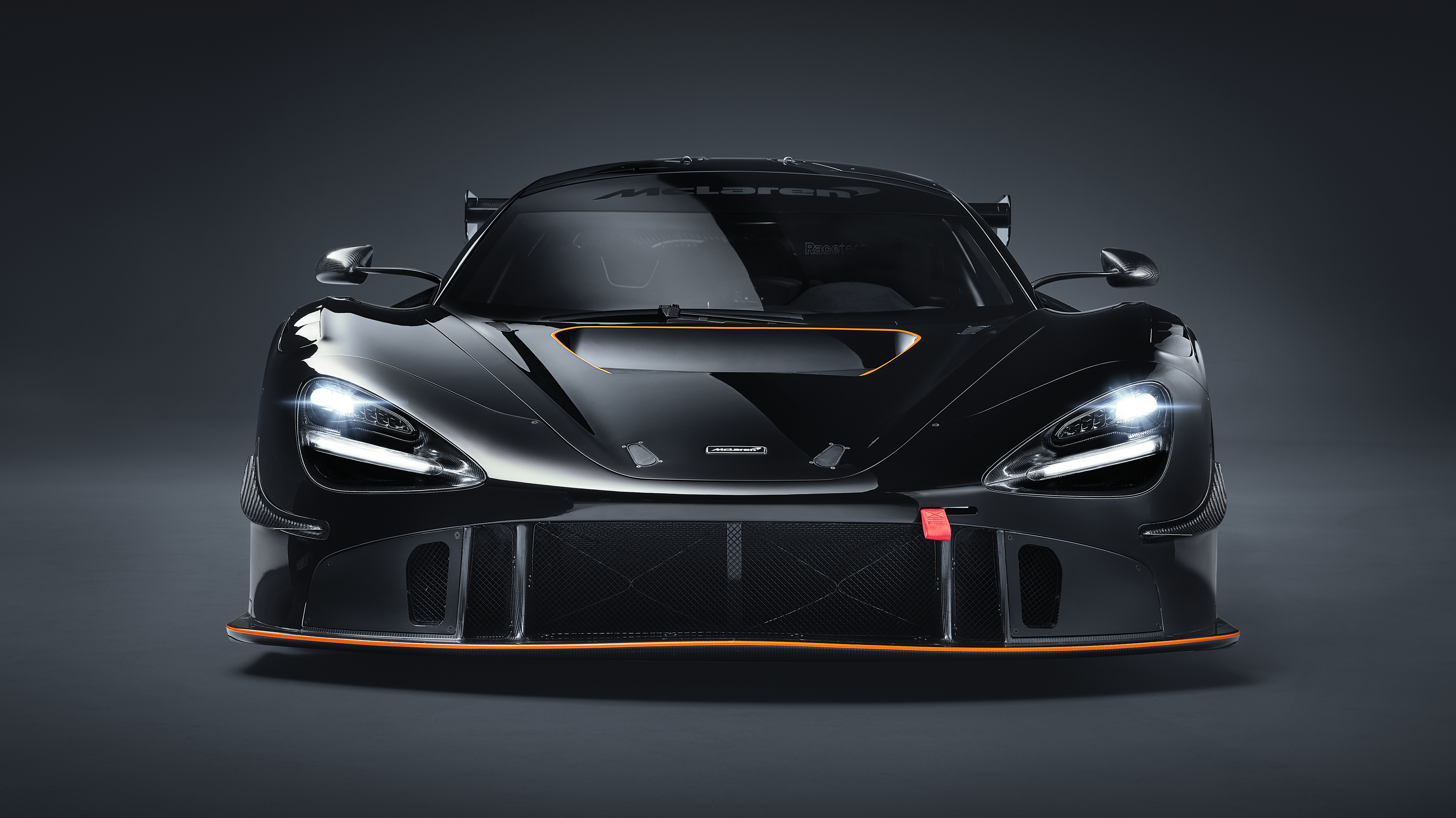McLaren 720S McLaren Supercars Car Vehicle Black Cars Race Cars Gray Background 5120x2880