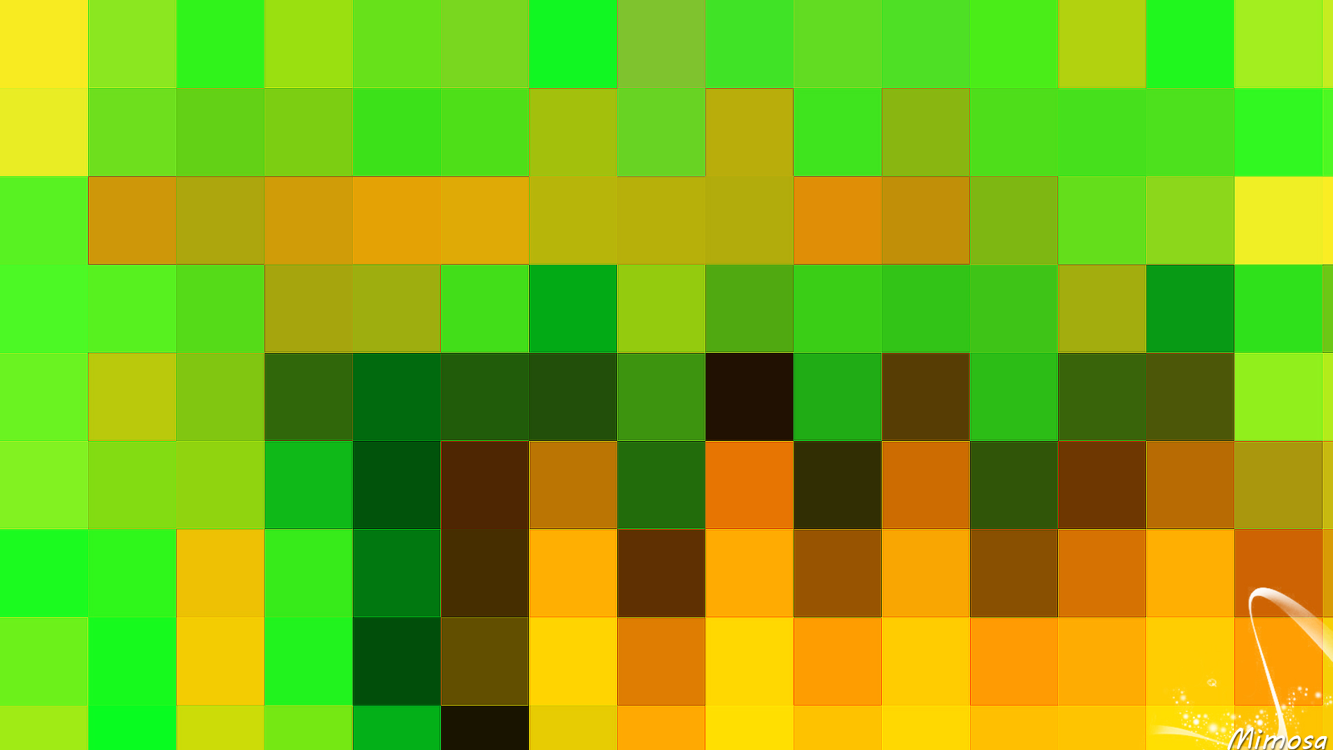 Abstract Colorful Digital Art Geometry Green Shapes Orange Color 1920x1080