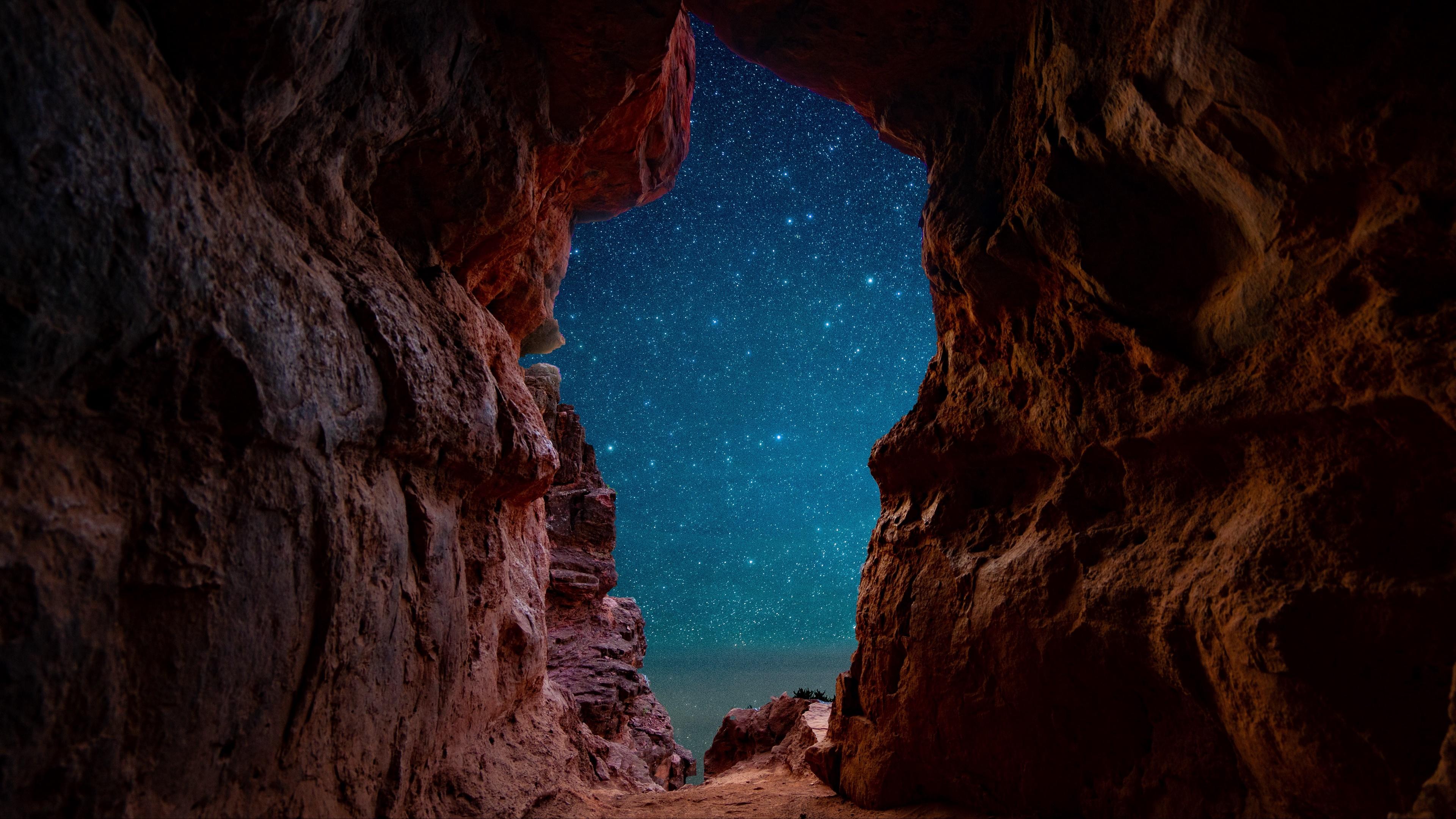 Cave Night Sky Starry Sky Stars 3840x2160