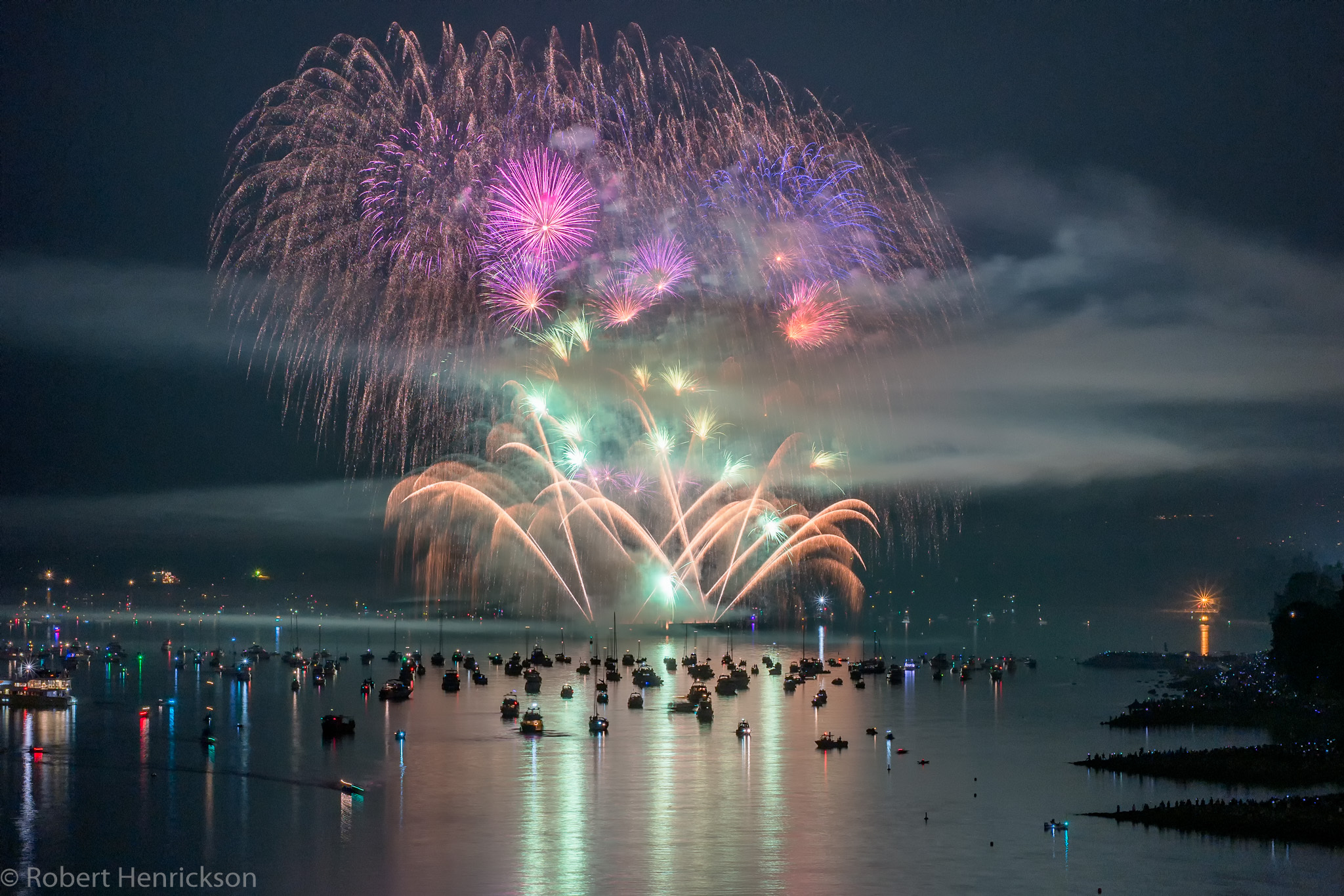 Boat Colorful Fireworks Night Ocean Sea Vancouver 2048x1366