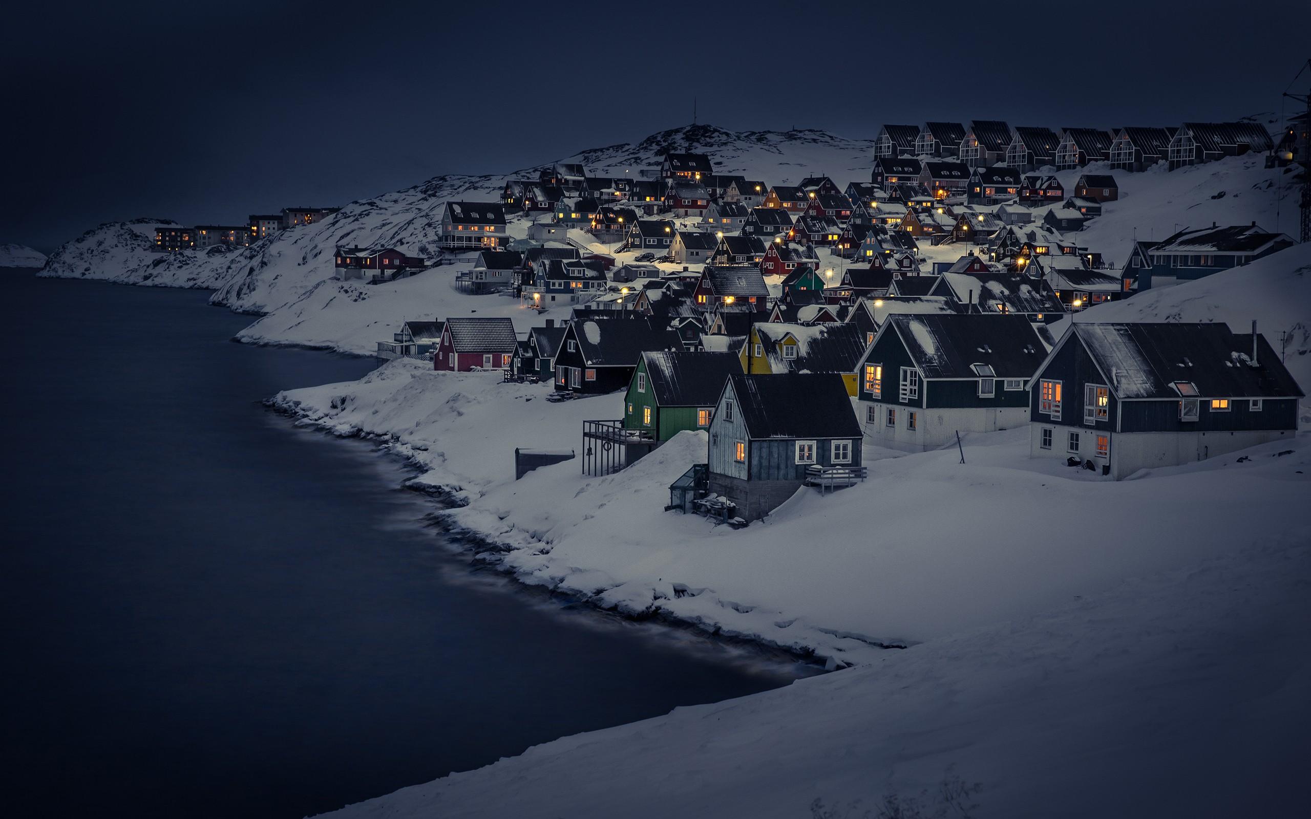 House Lake Light Night Snow Village Winter 2560x1600