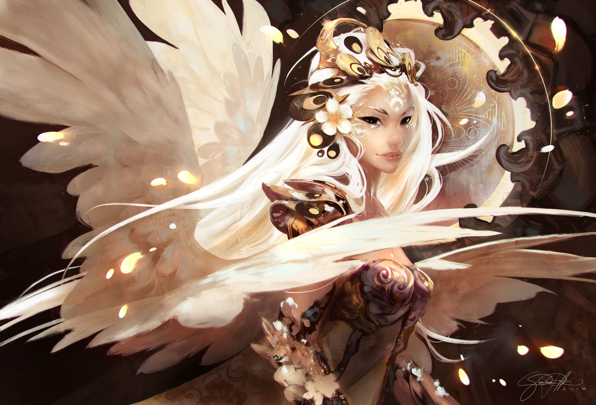 Angel Girl Long Hair White Hair Woman 1920x1304
