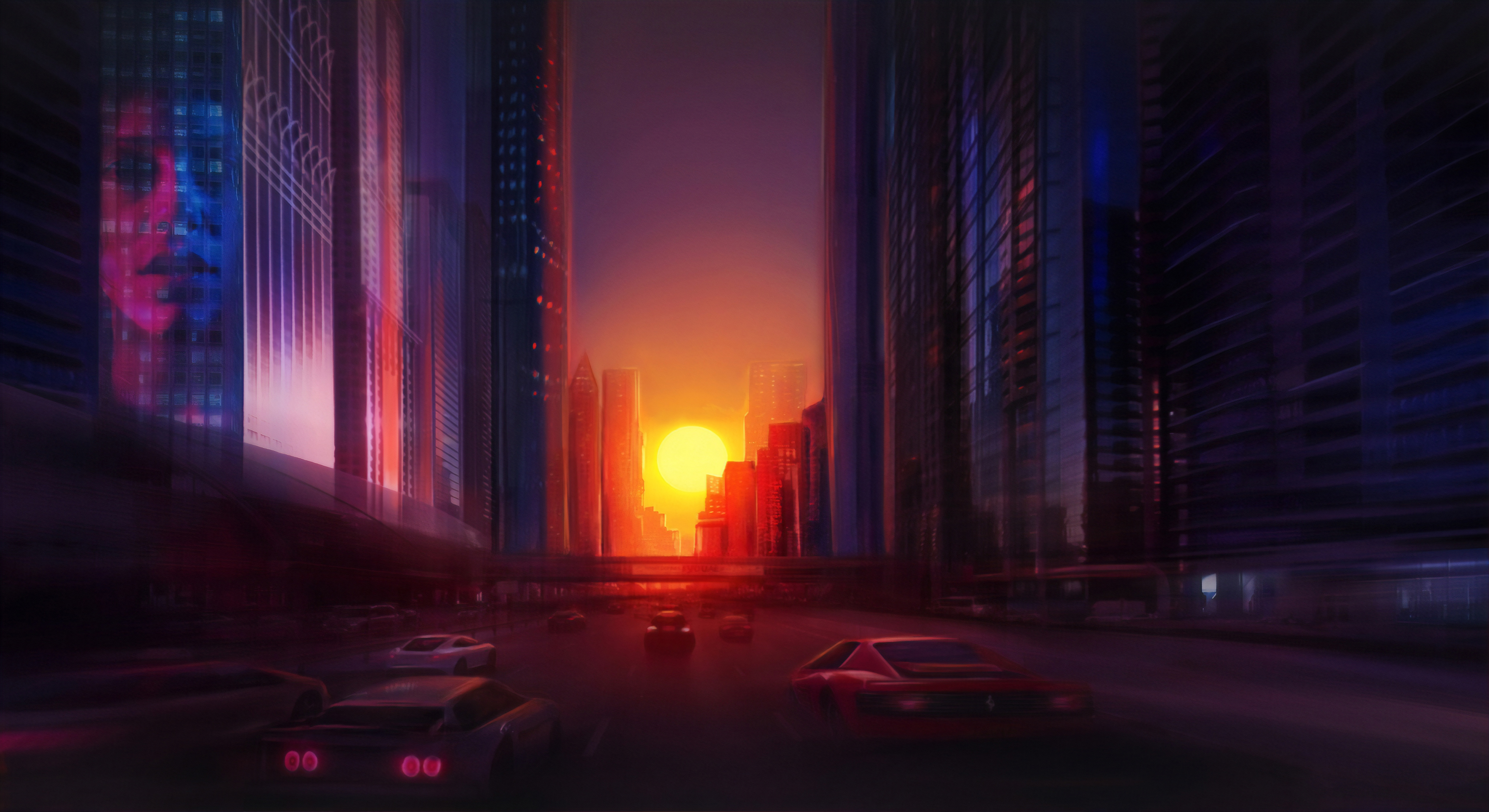 Building City Futuristic Sunset 3840x2095
