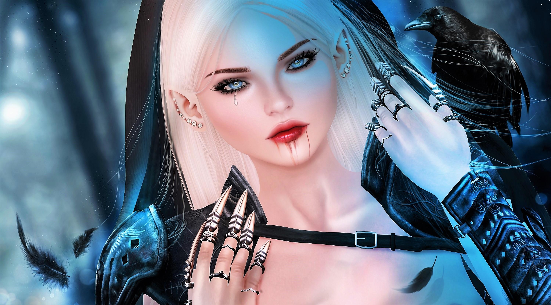 Blonde Blue Eyes Elf Girl Raven Vampire Woman 3000x1663