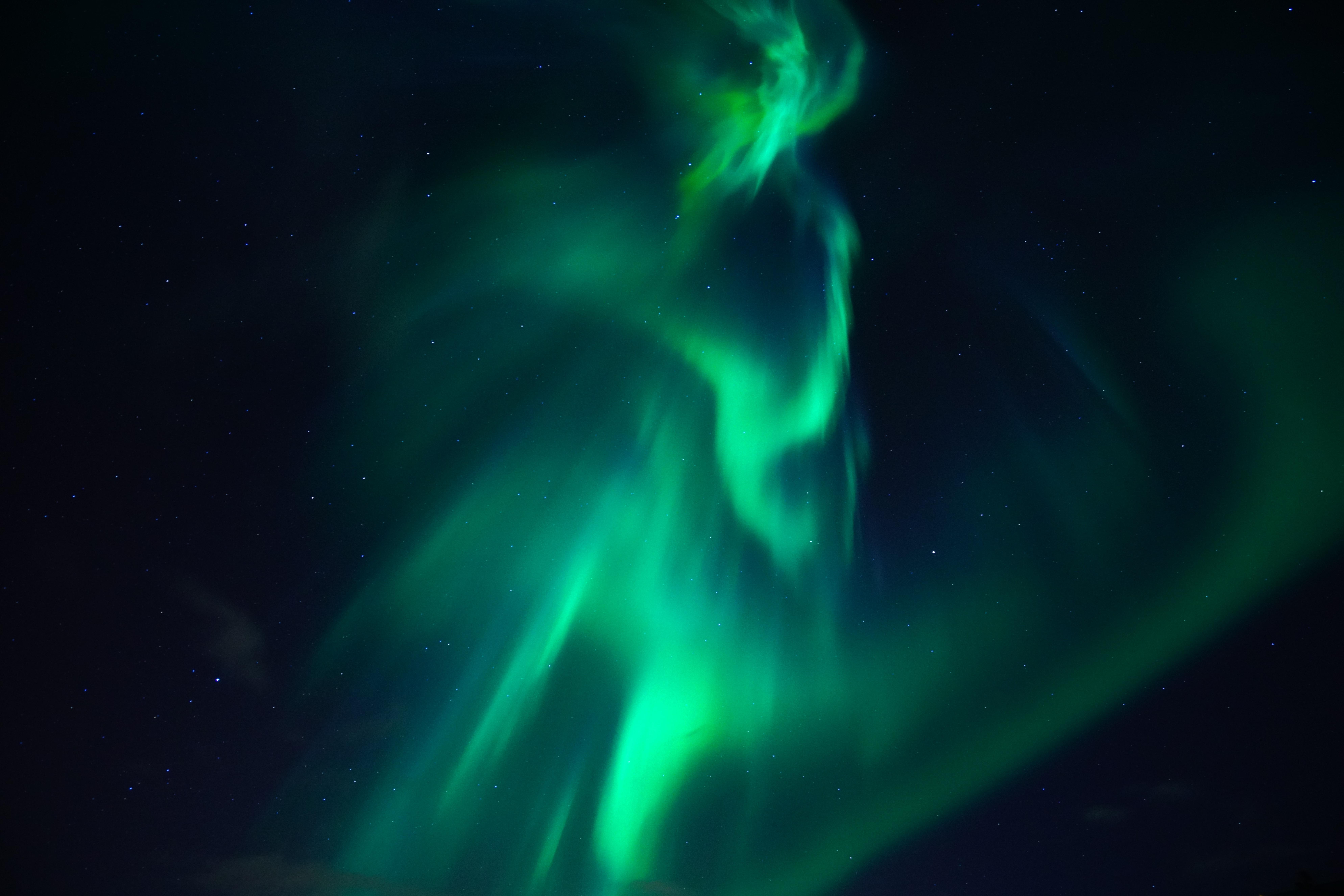 Aurora Borealis Light Night Sky Stars 7952x5304