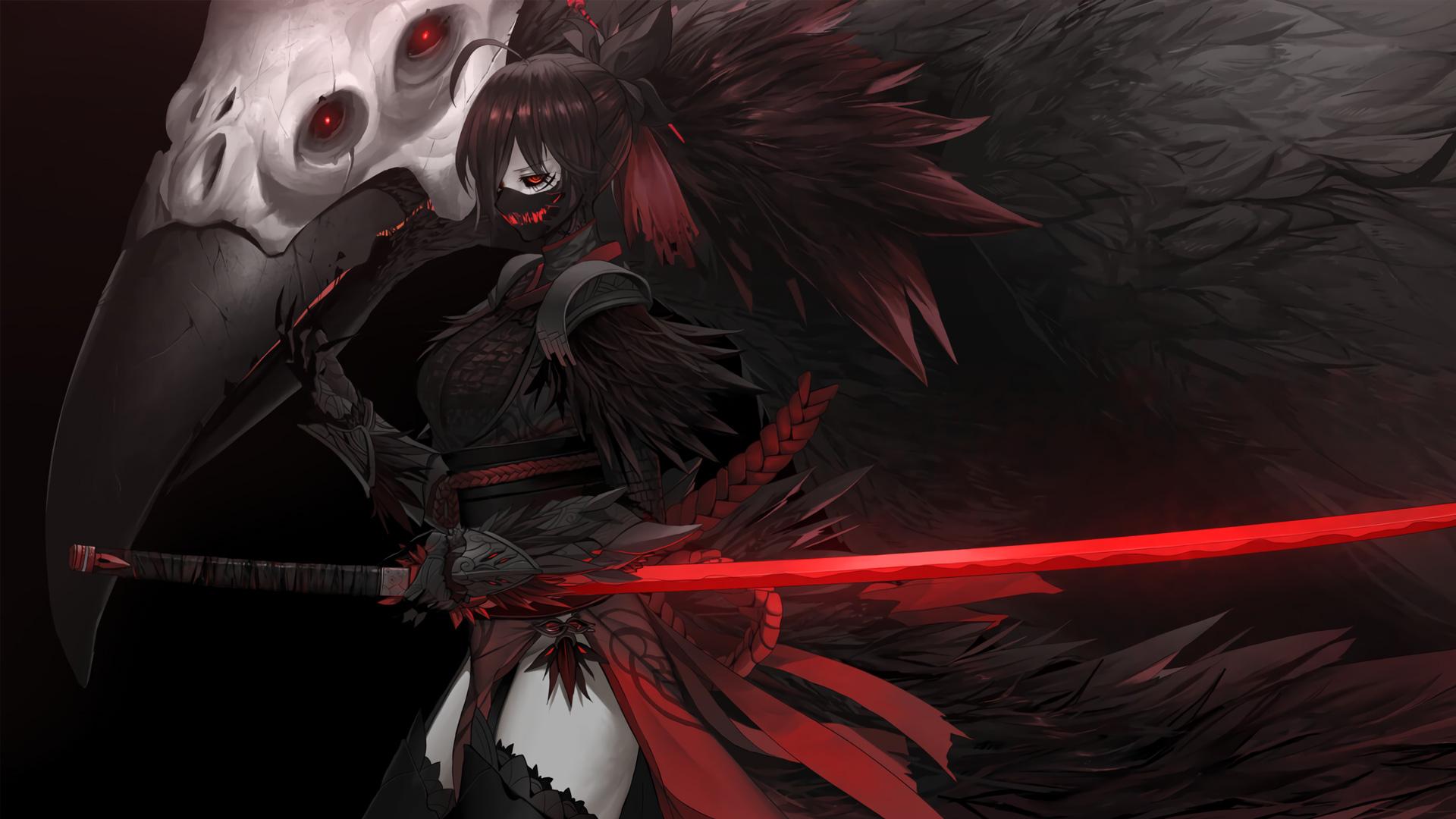 Anime Girls Dark Katana Skull Creepy Raven Dishwasher1910 RWBY Grimm RWBY Raven Branwen Nevermore RW 1920x1080