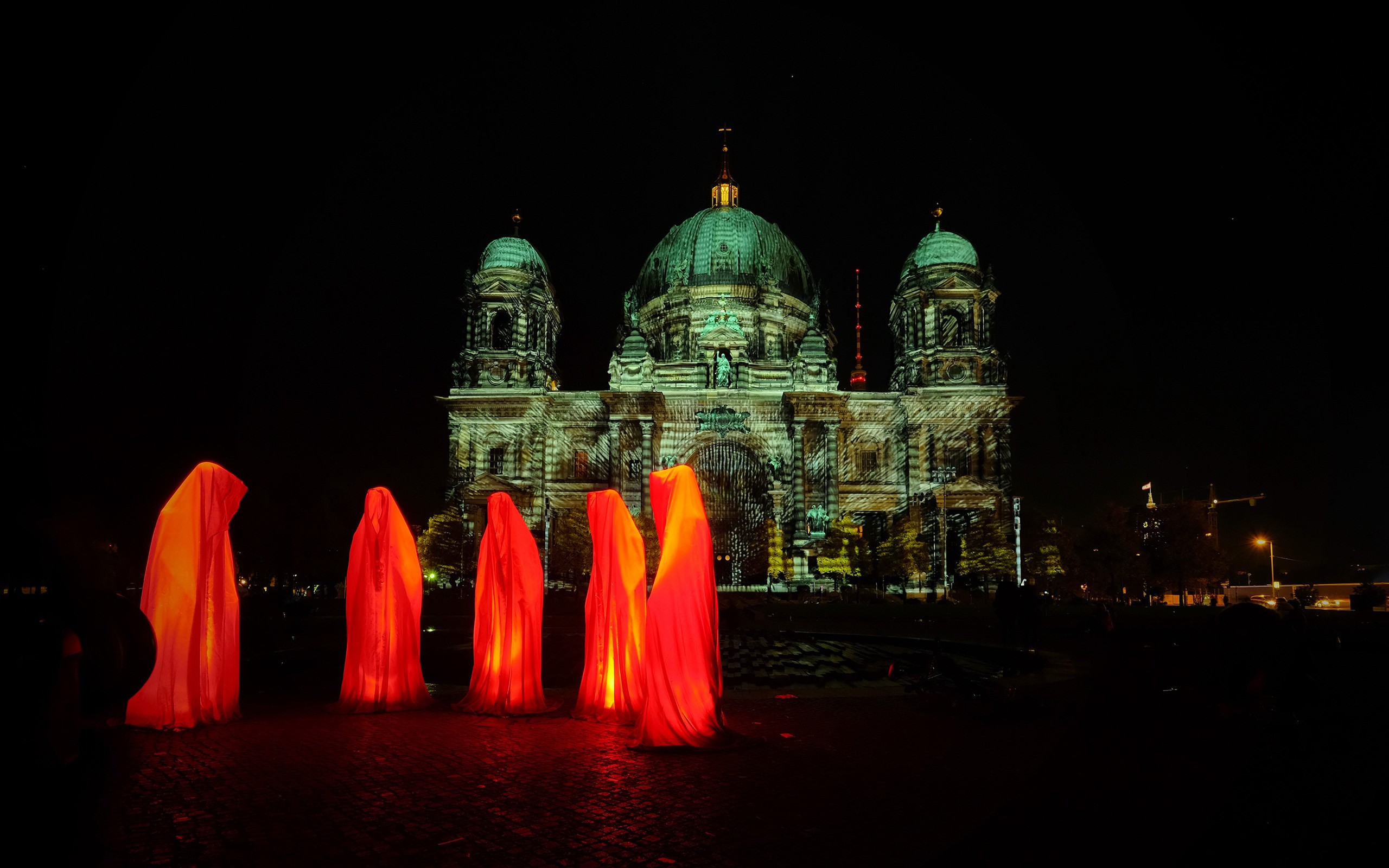 Architecture Berlin Berlin Cathedral Dome Germany Hood Night People Orange Color 2560x1600