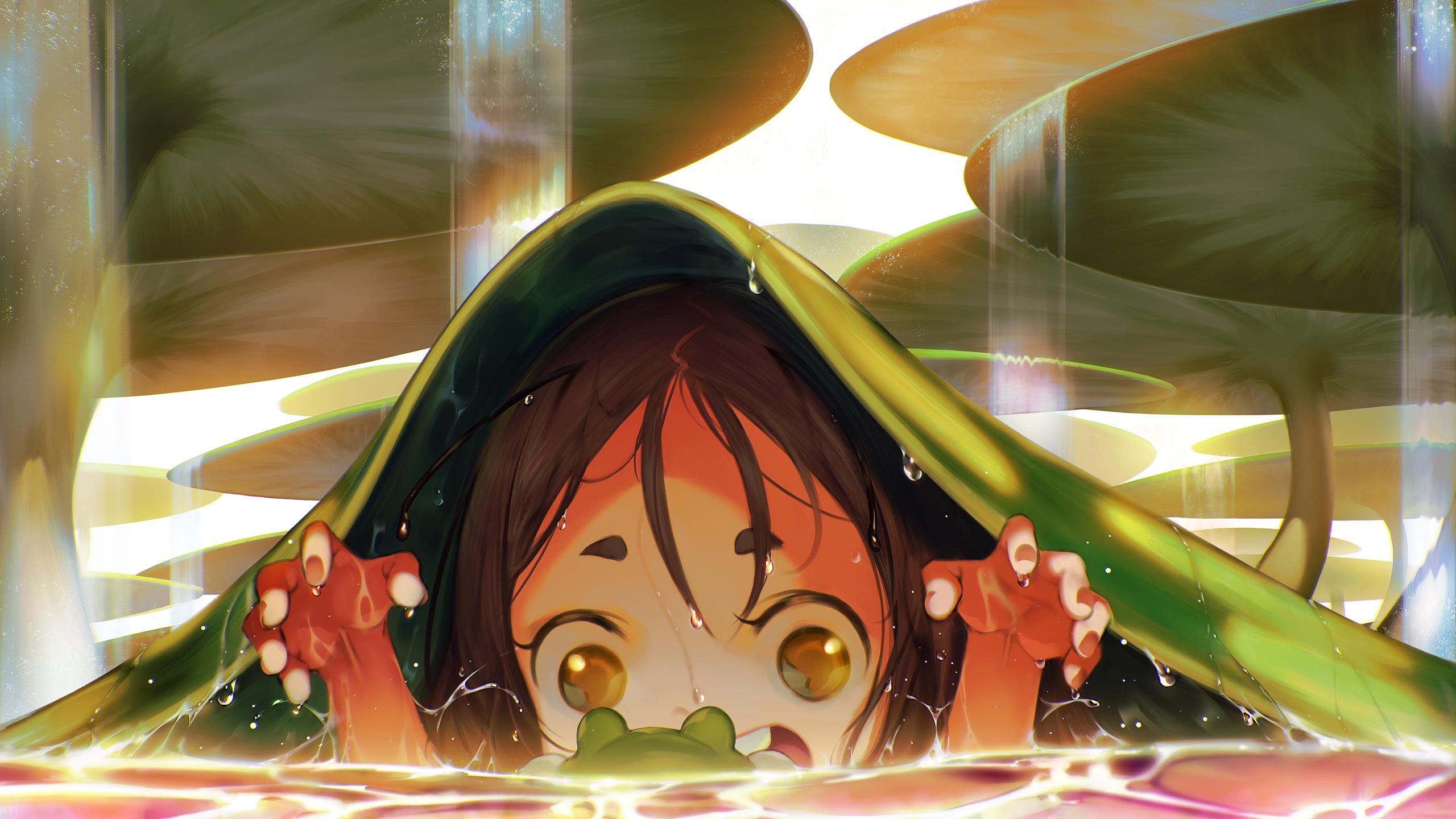 Fantasy Art Frog Brunette Yellow Eyes Water Lilies Water Drops Teeth Anime Girls Blueorca 2560x1440