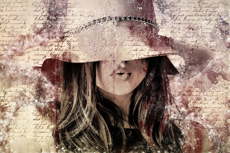 Artistic Drawing Girl Hat Postcard Woman 6000x4000