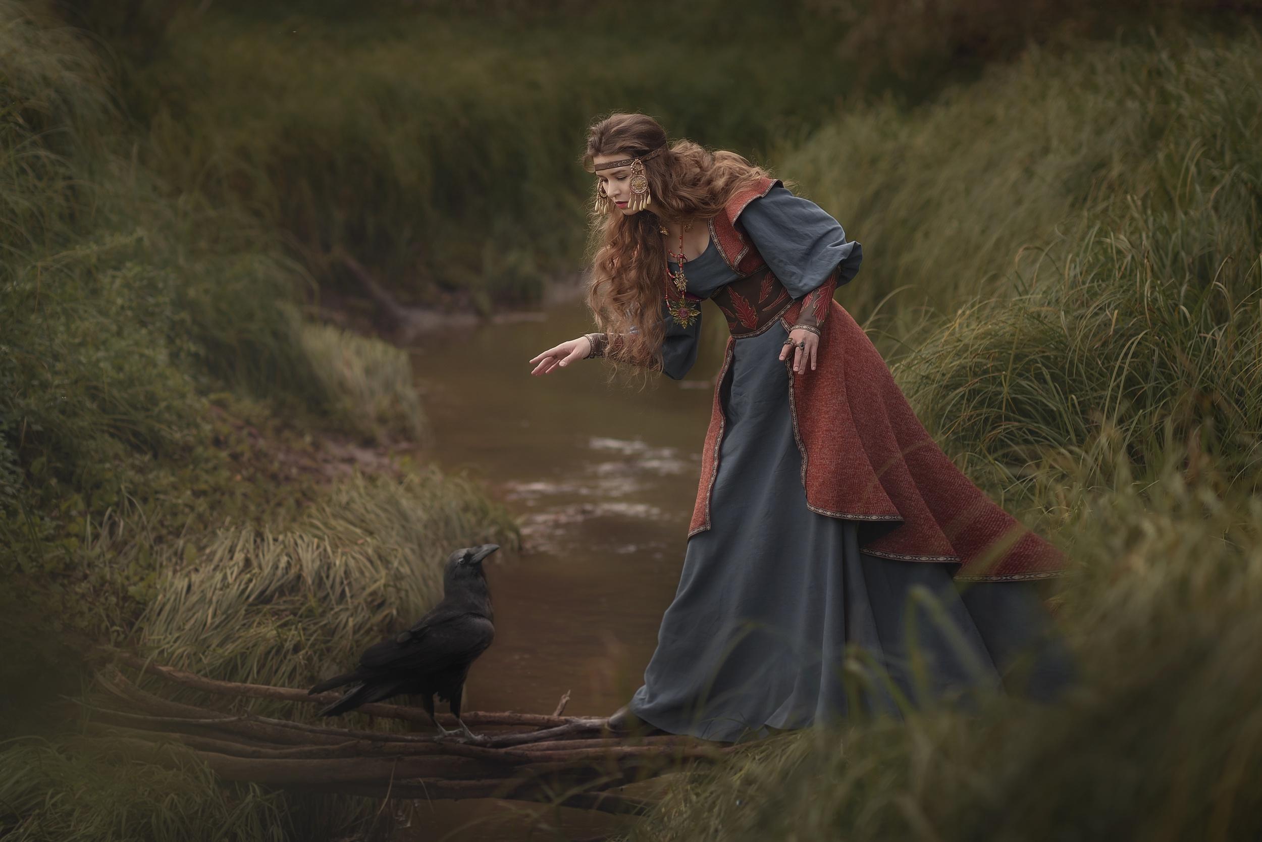 Women Model Outdoors Women Outdoors Fantasy Girl Birds Animals Water Dress Raven 2500x1668