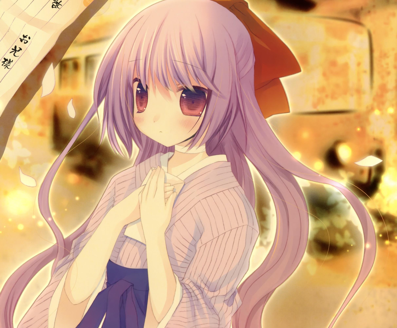 Blush Kimono Long Hair Purple Eyes Purple Hair Bow Clothing 2424x2000