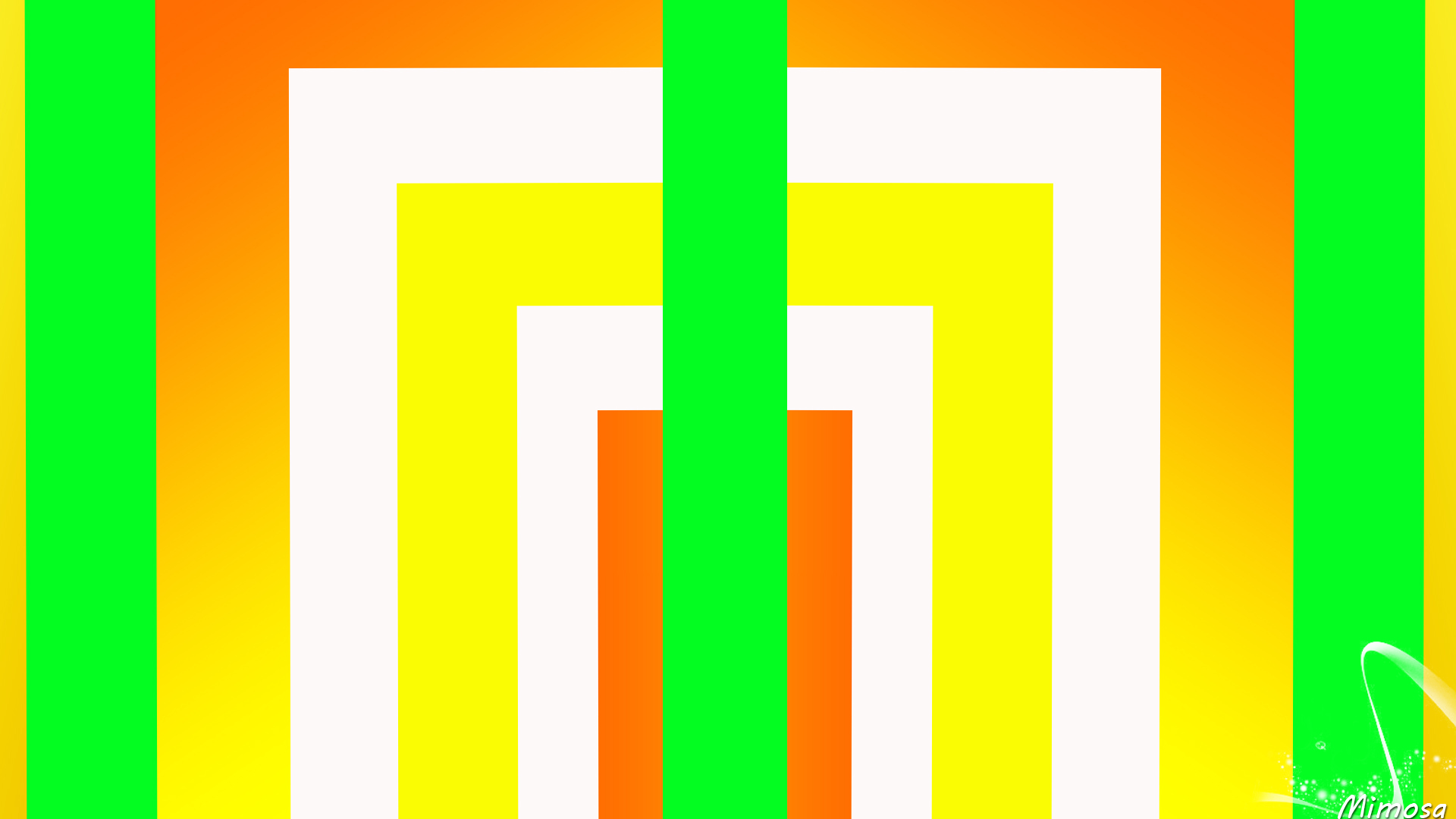 Abstract Colorful Digital Art Geometry Rectangle Shapes Stripes Yellow Orange Color 1920x1080