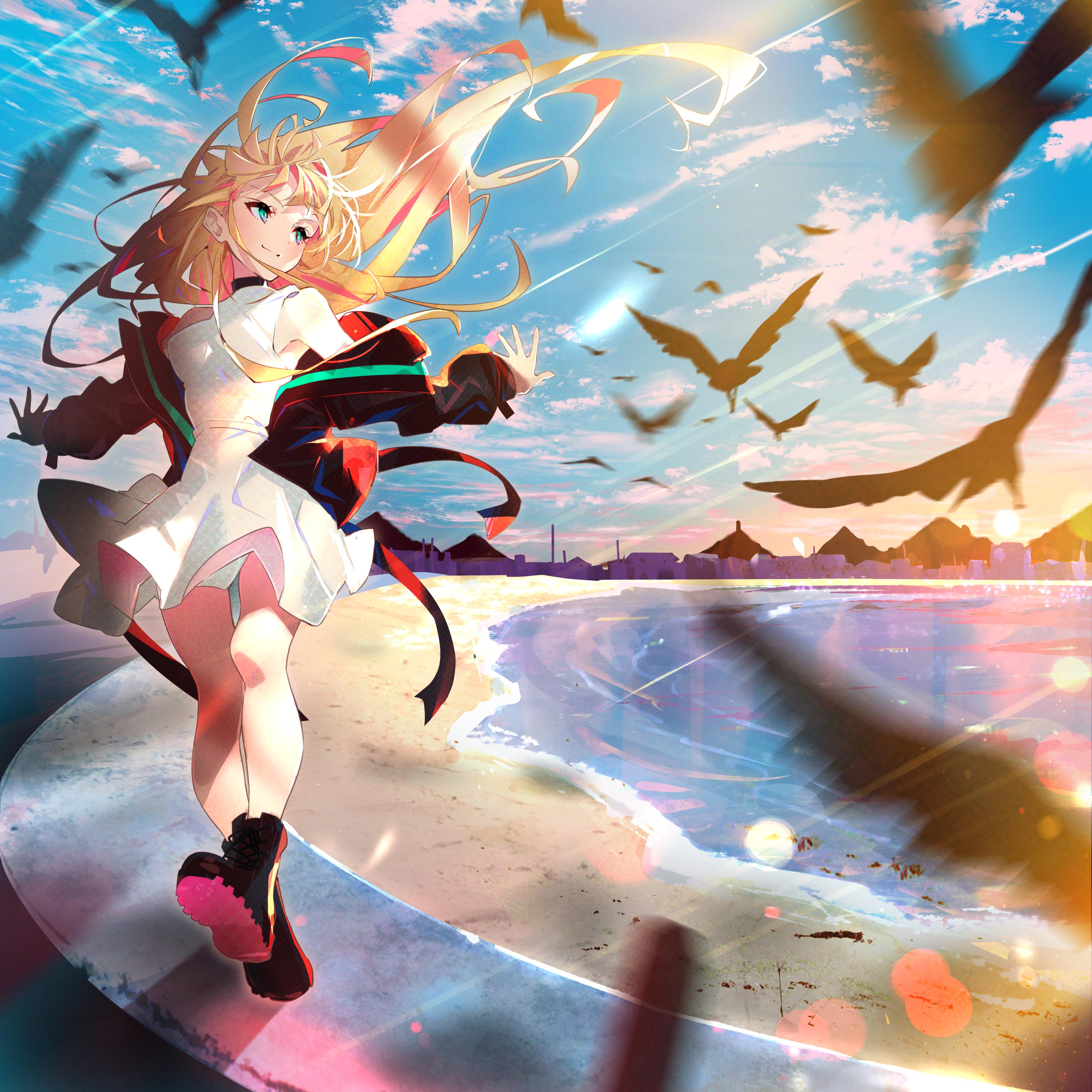 Anime Anime Girls Arutera Blonde Dress Beach Birds 4000x4000