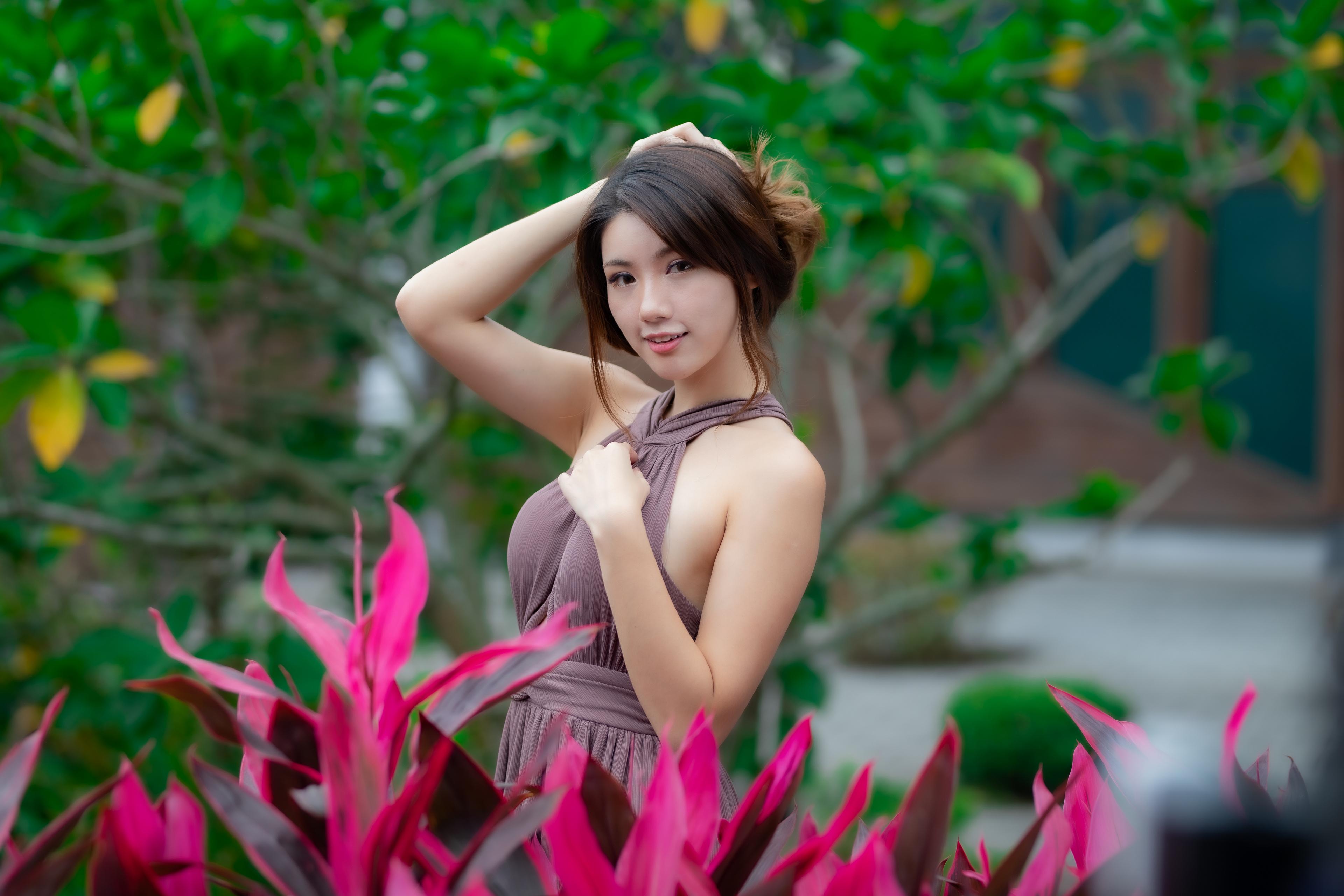 Asian Model Women Long Hair Brunette Flowers Trees Leaves Branch Brown Dress Depth Of Field Women Ou 3840x2560