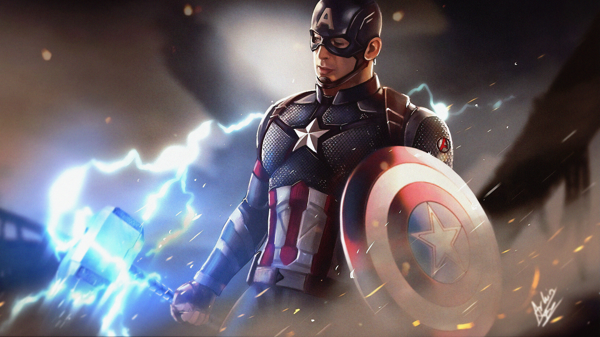 Captain America Shield Marvel Comics Marvel Cinematic Universe The Avengers Mjolnir 1920x1080