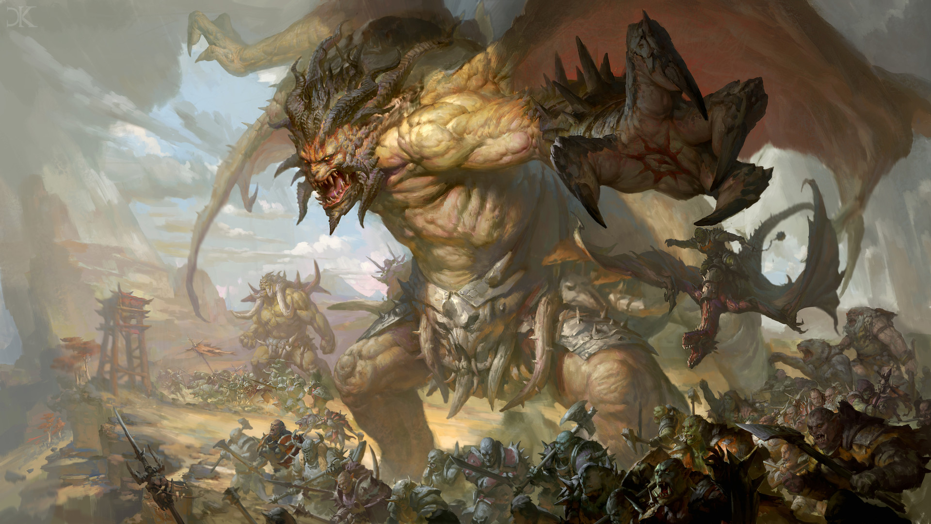 Battle Creature Horns Orc Warrior Wings 1920x1080