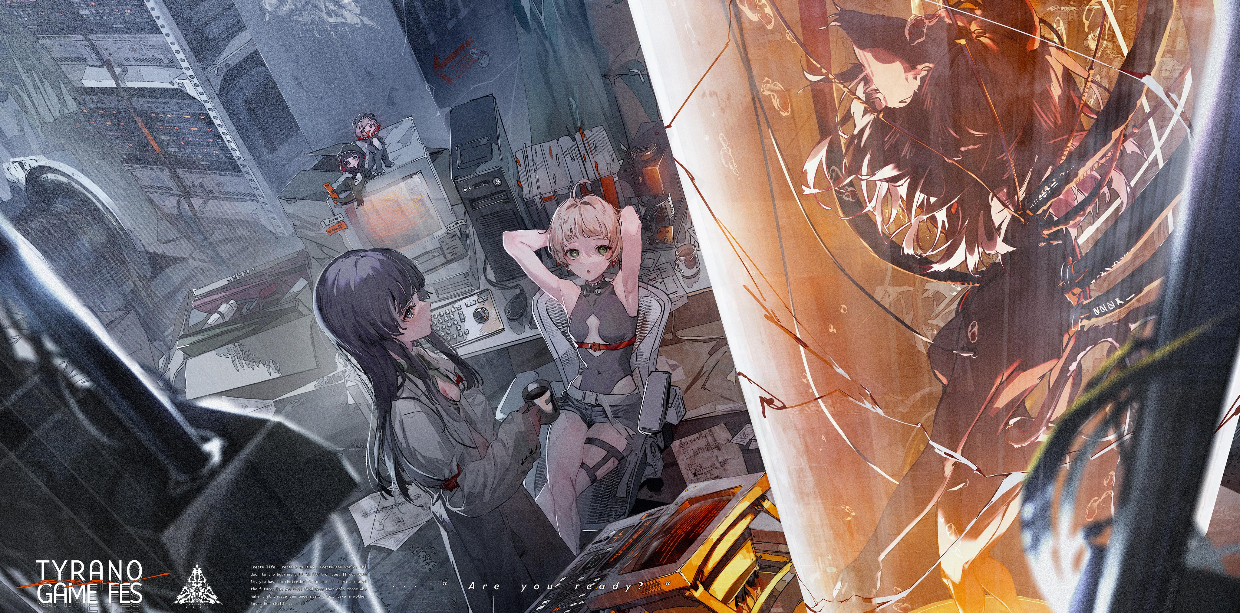 Anime Anime Girls Rolua Noa Science Fiction 4096x2027