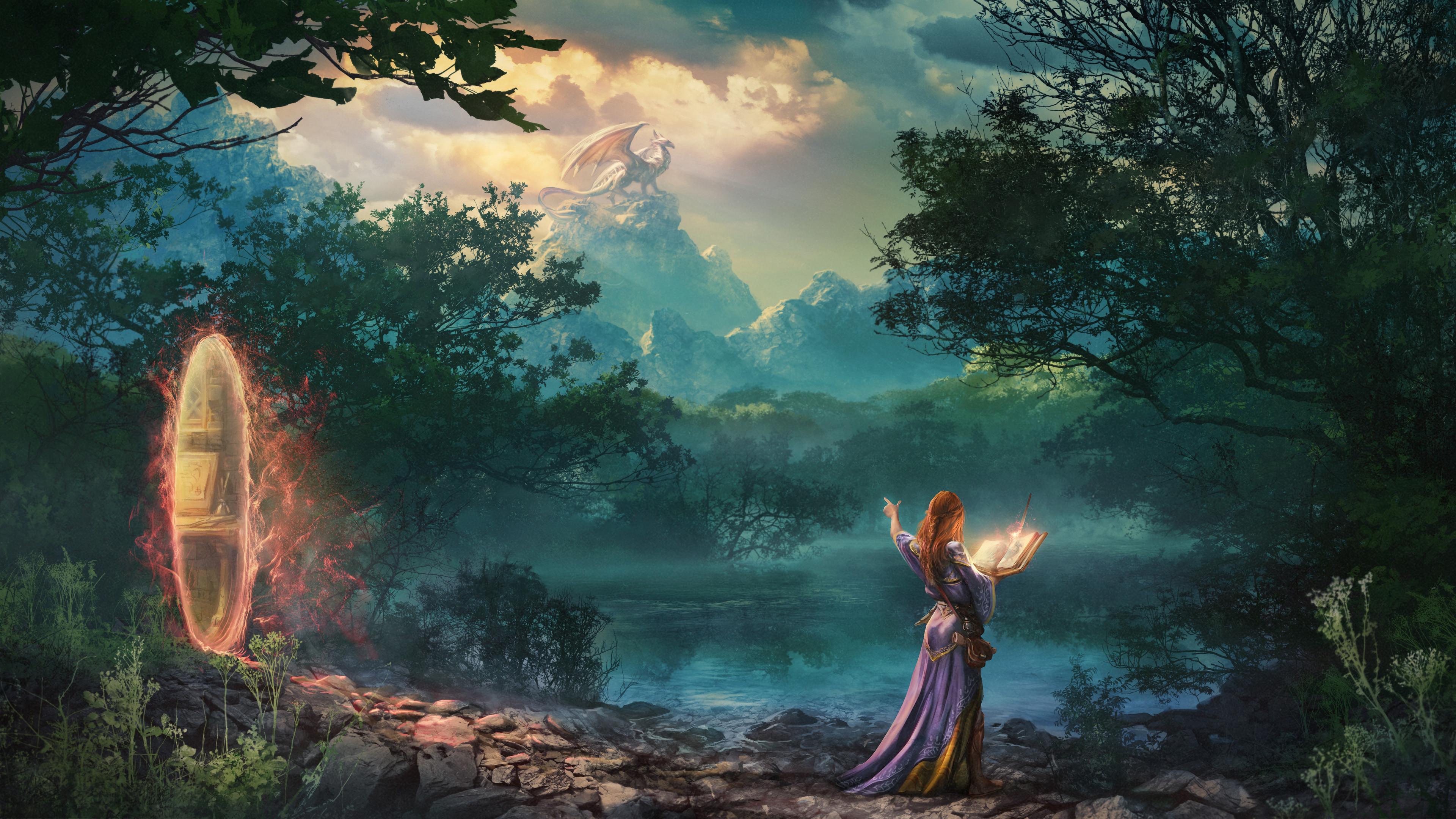 Zsolt Kosa ArtStation Women Women Outdoors Artwork Digital Painting Digital Art Drawing Lake Magic T 3840x2160