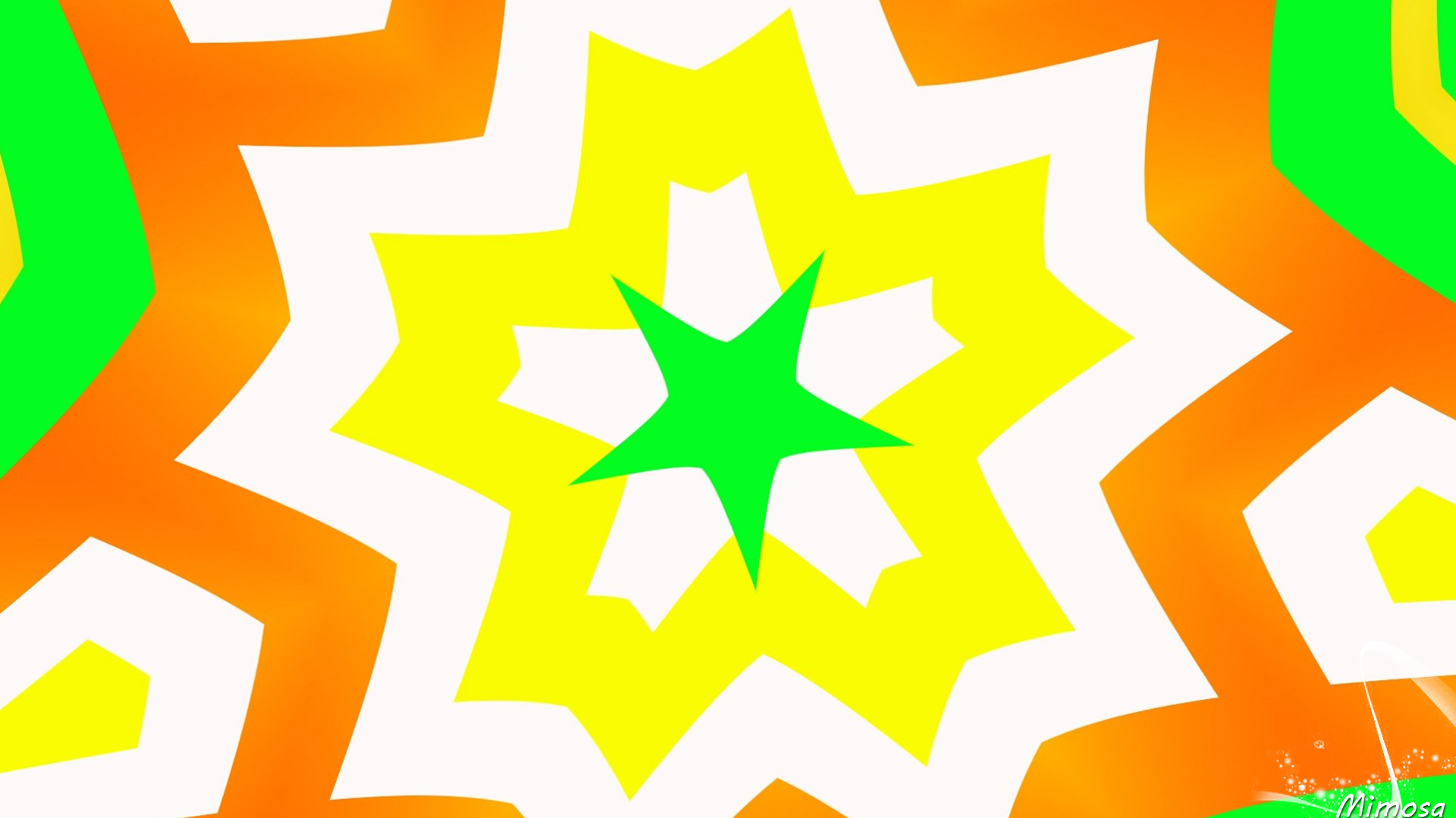 Abstract Artistic Colorful Colors Digital Art Geometry Green Kaleidoscope Pattern Shapes Star White  1920x1080