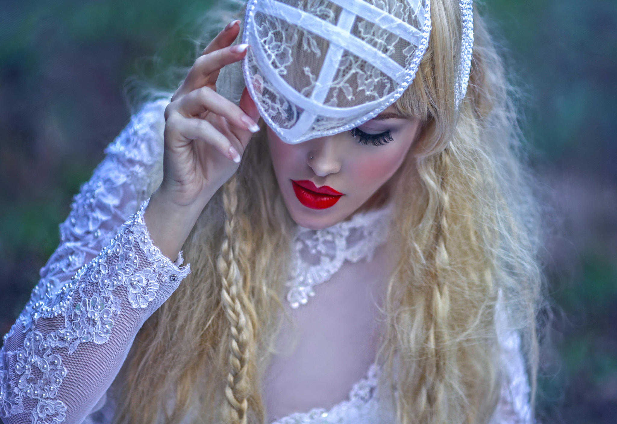 Blonde Bride Lips Long Hair Mood Woman 2048x1408