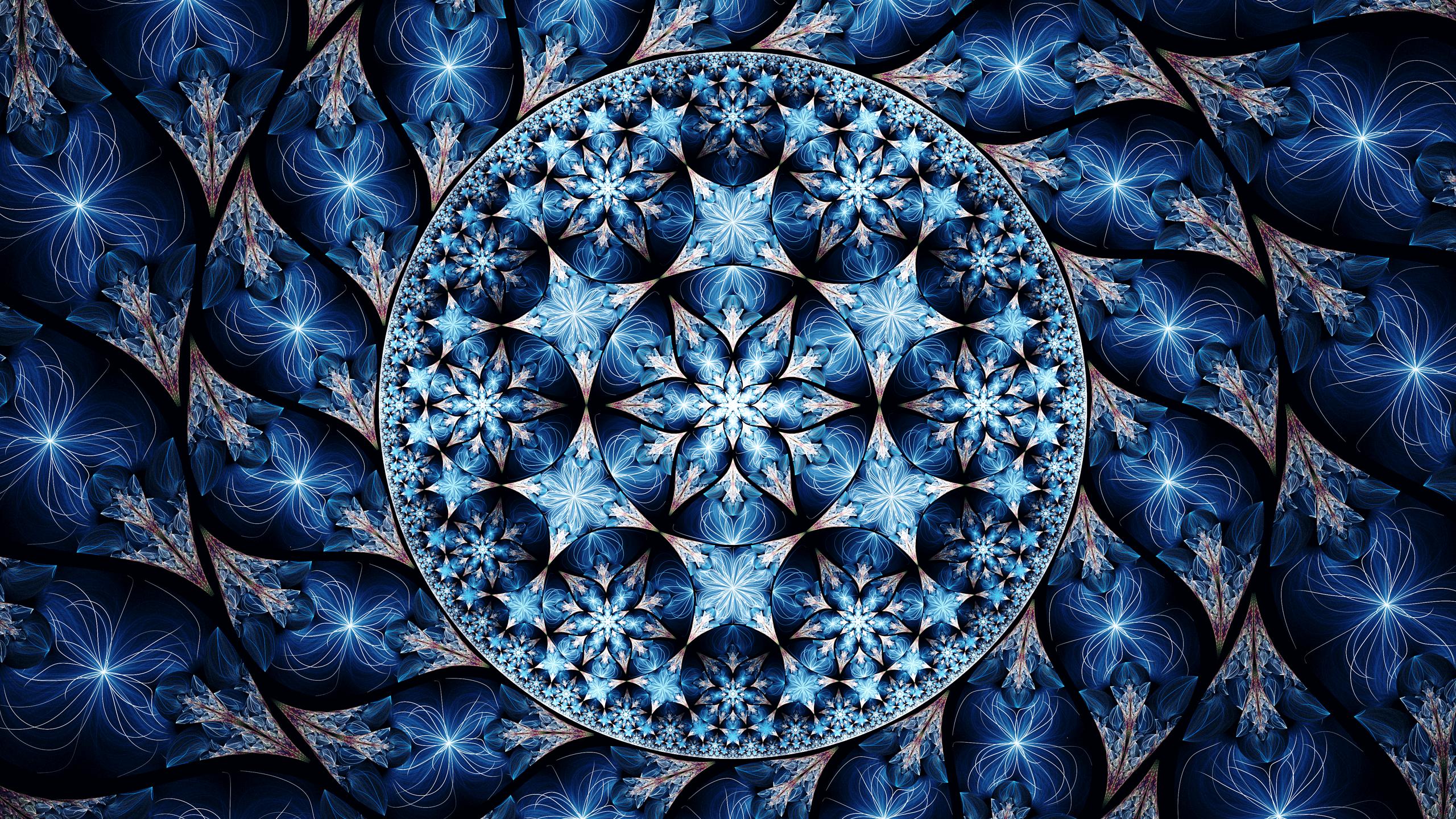 Artistic Blue Digital Art Fractal Pattern 2560x1440