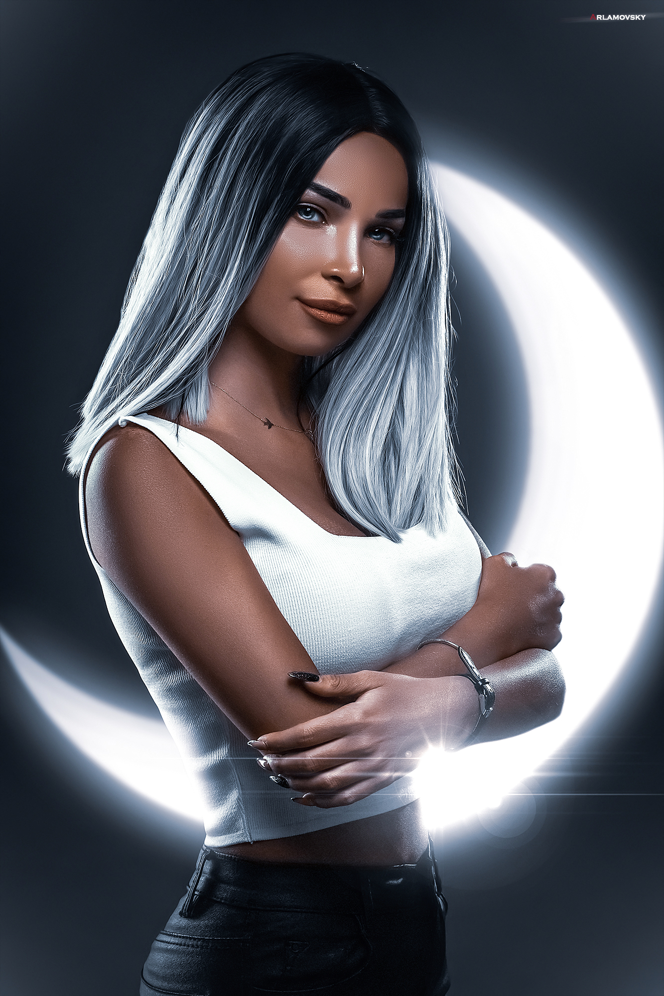 Arlamovsky Gray Eyes Women Nails Hair Eyes Moon Rays Light Effects Mystic Eyes Digital Lips Retouchi 1333x2000