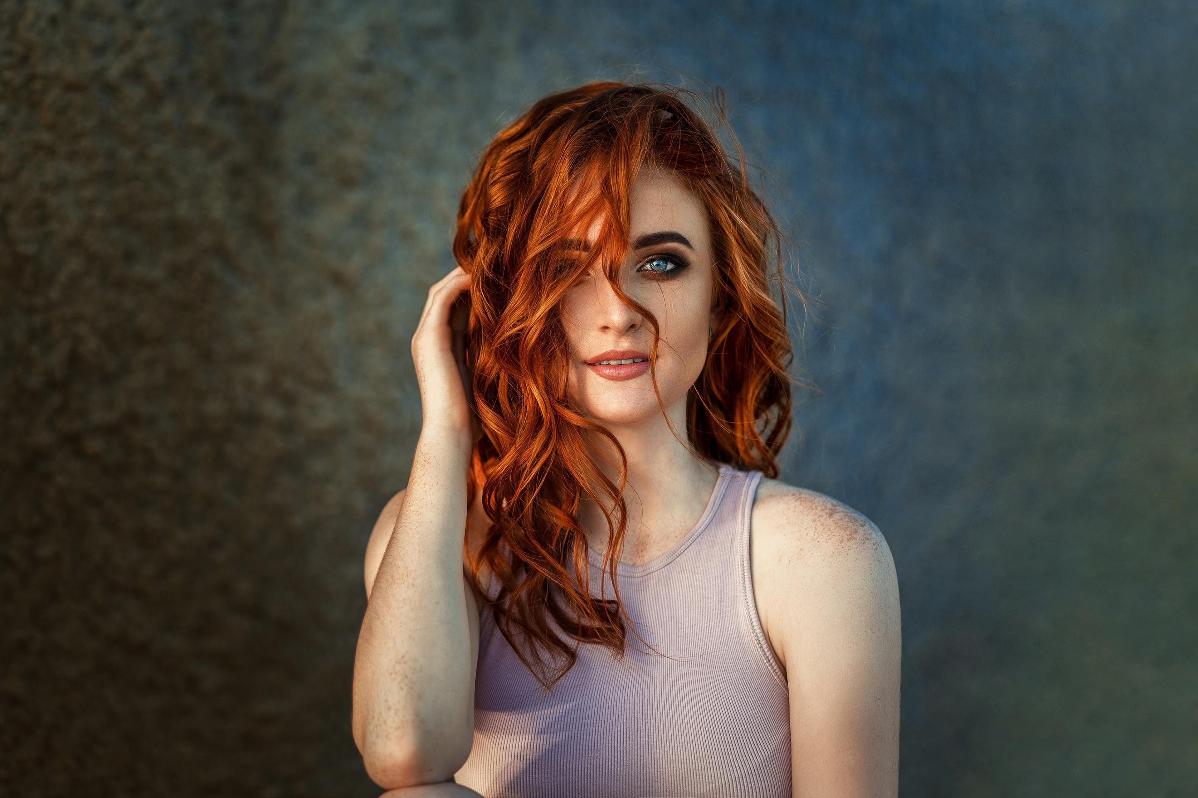 Blue Eyes Freckles Girl Model Redhead Woman 3840x2559