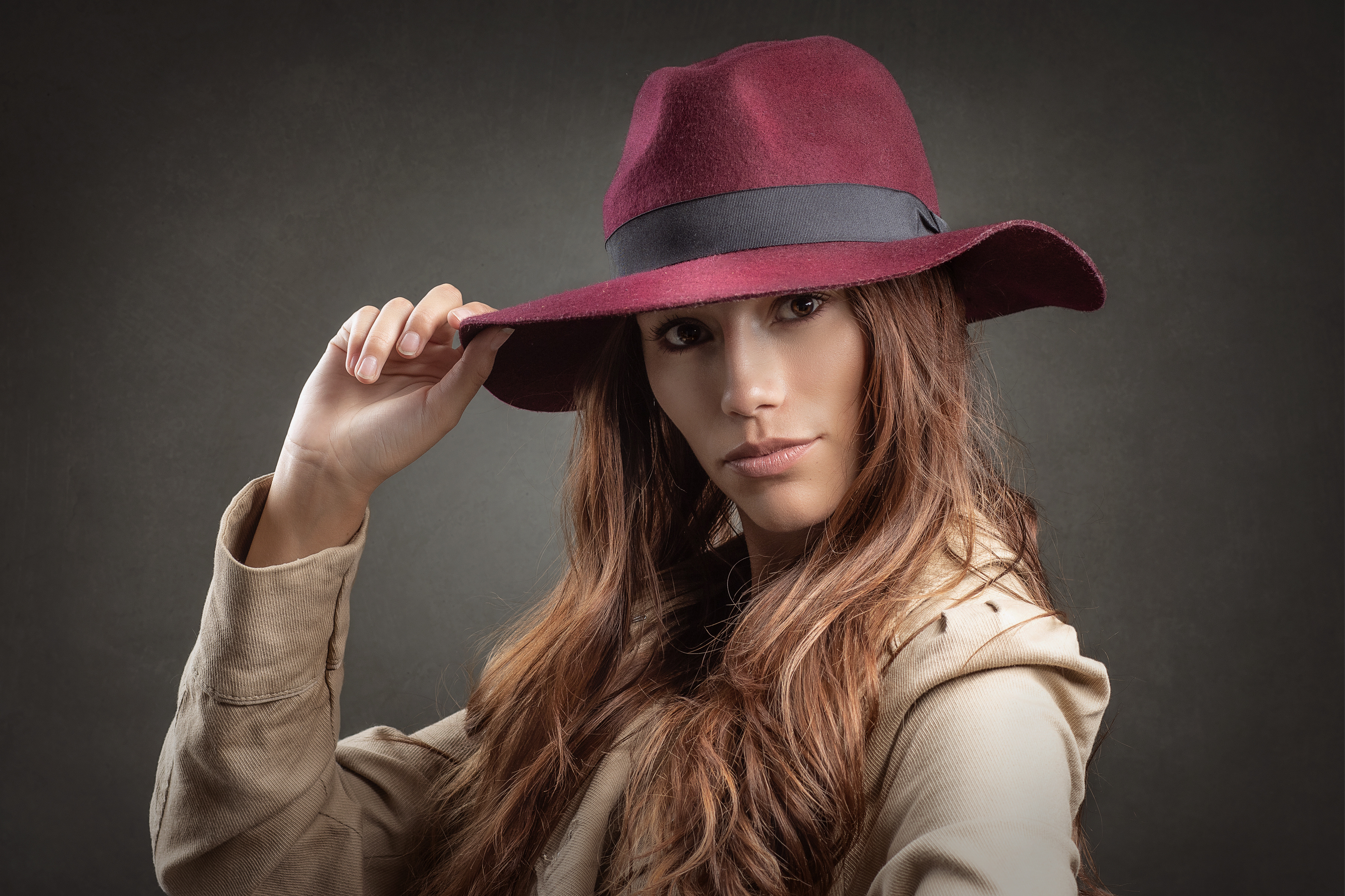 Brown Eyes Girl Hat Model Redhead Woman 3600x2400