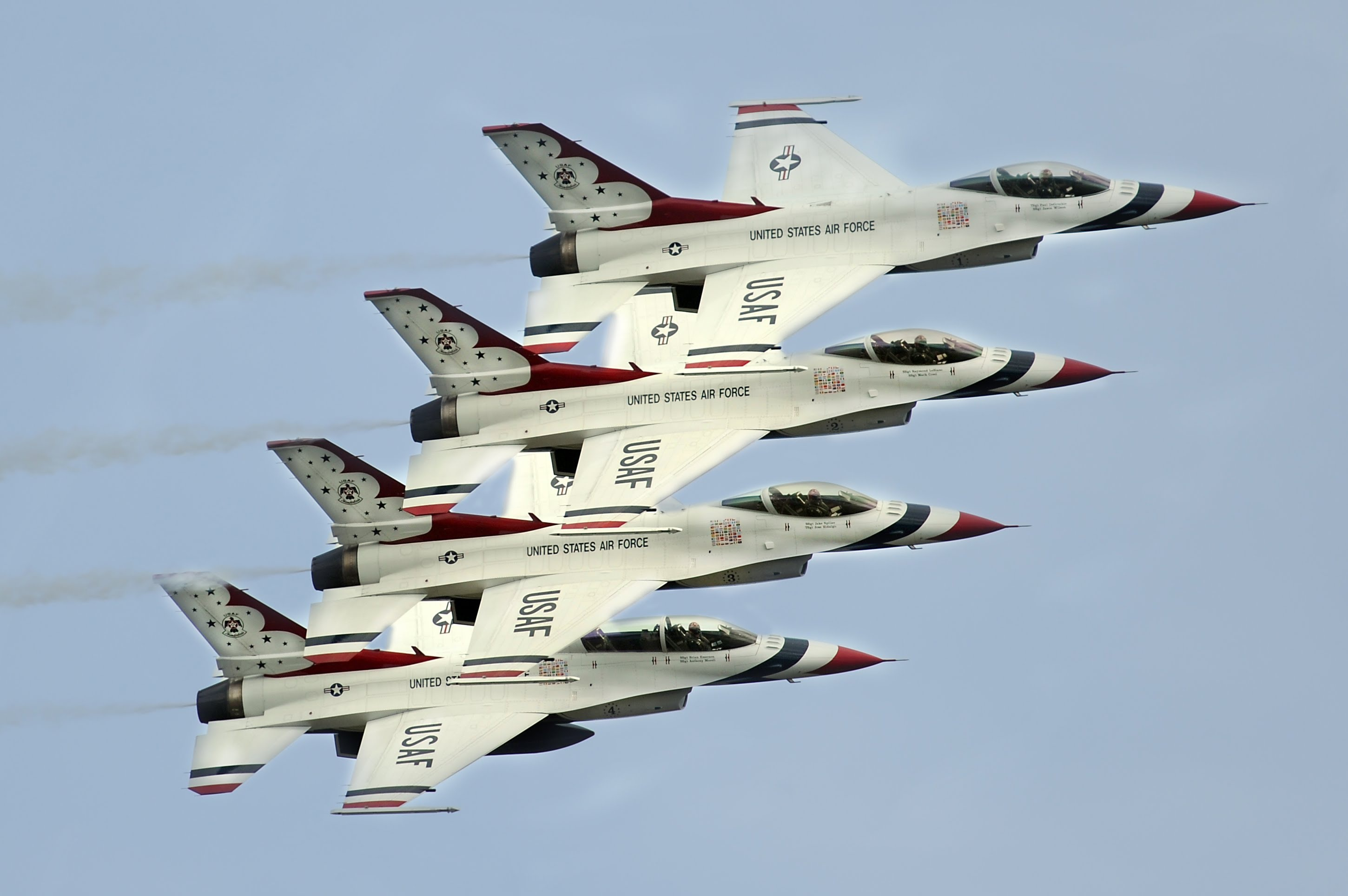 Aircraft General Dynamics F 16 Fighting Falcon Jet Fighter United States Air Force Thunderbirds 2900x1929