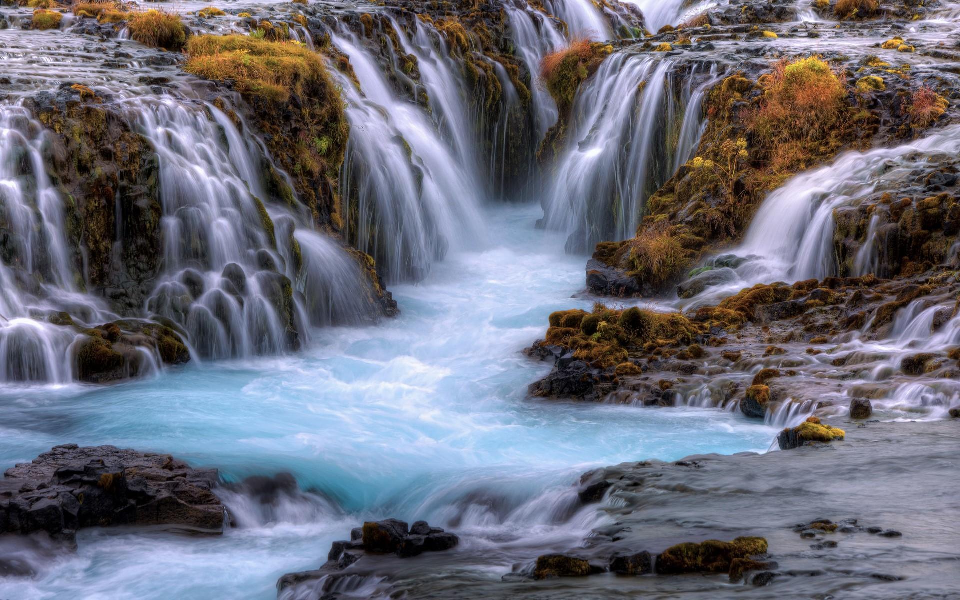 Earth Fall Rock Stream Waterfall 1920x1200