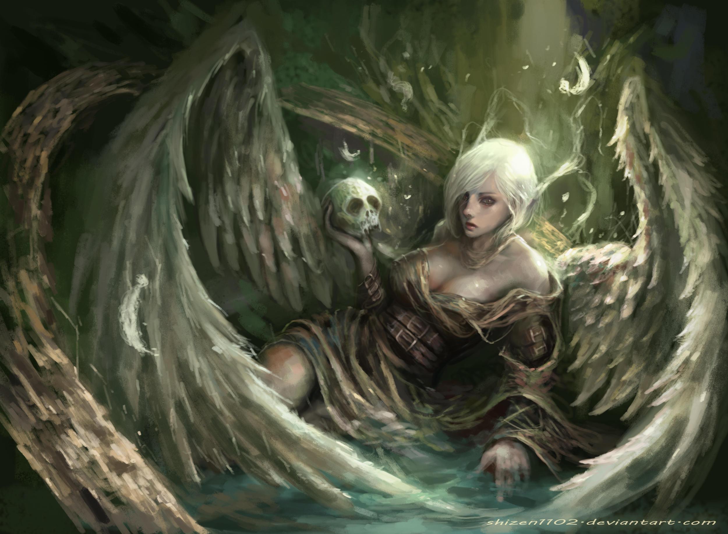 Angel Girl Short Hair Skull White Hair Wings Woman 2500x1833