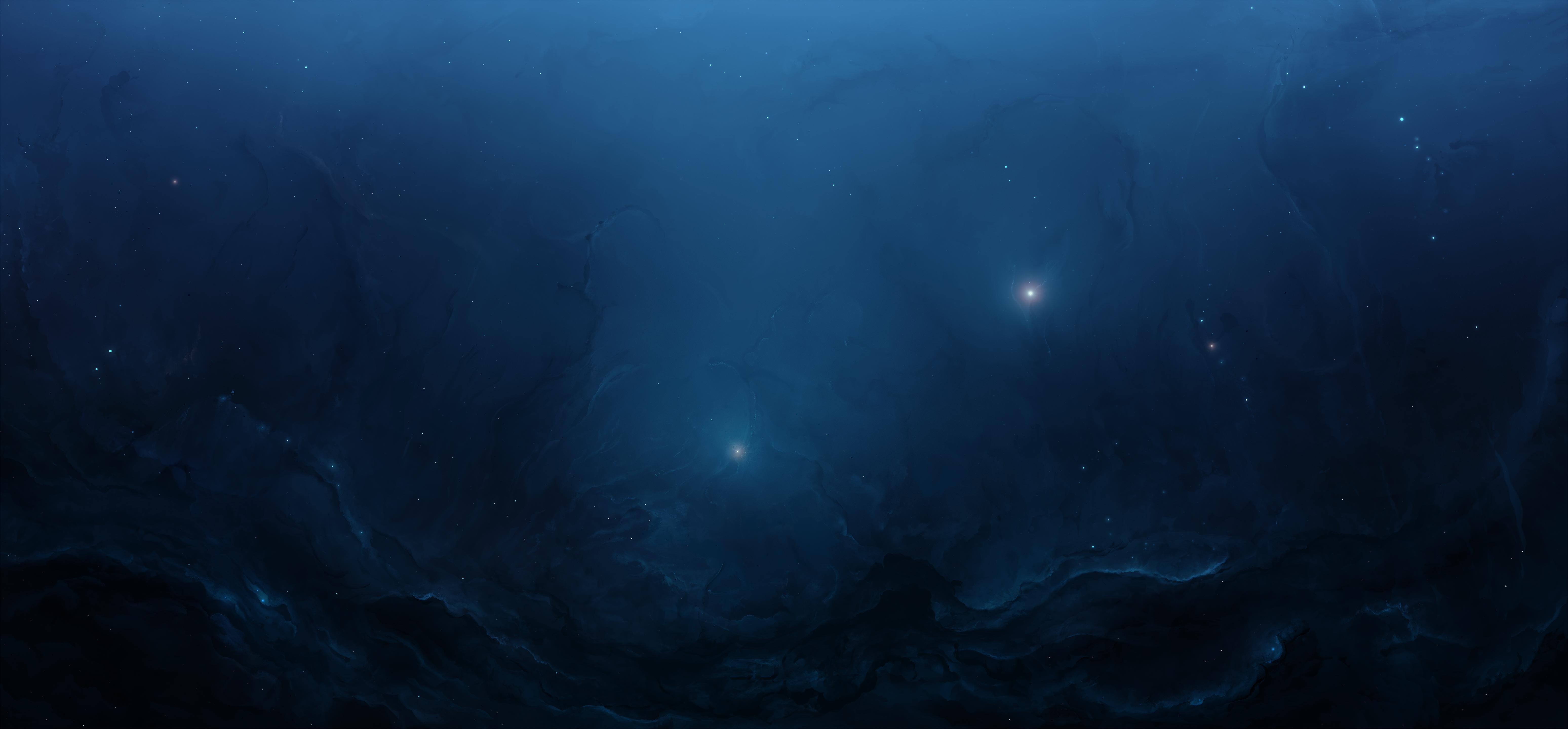 Blue Cosmos Space Stars 6192x2880