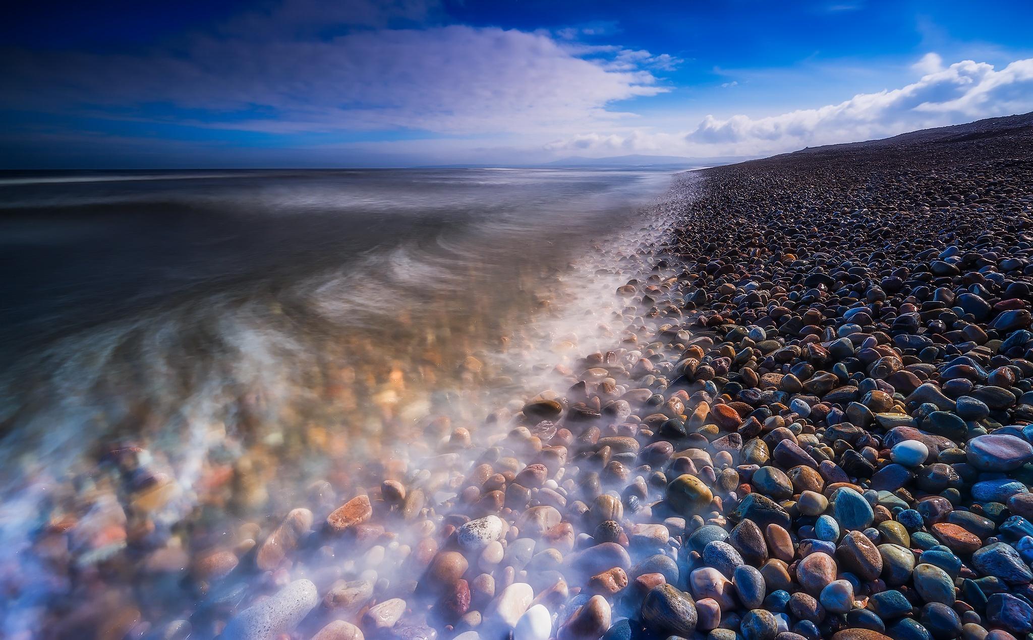 Scotland Nature Outdoors Stones Sea Water Coast Long Exposure Clouds 2048x1270