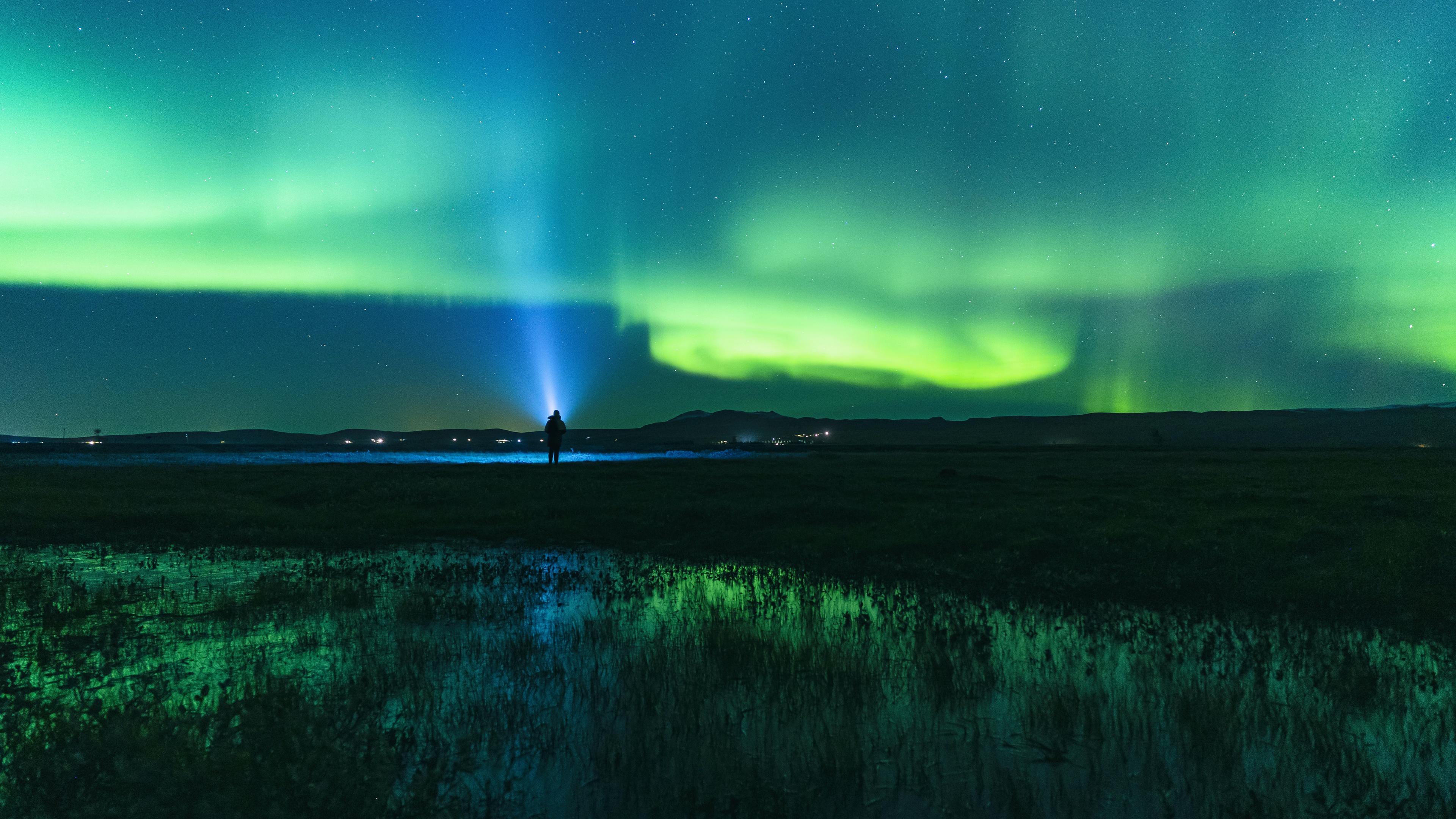 Aurora Borealis Man Night Norway Sky Stars 3840x2160