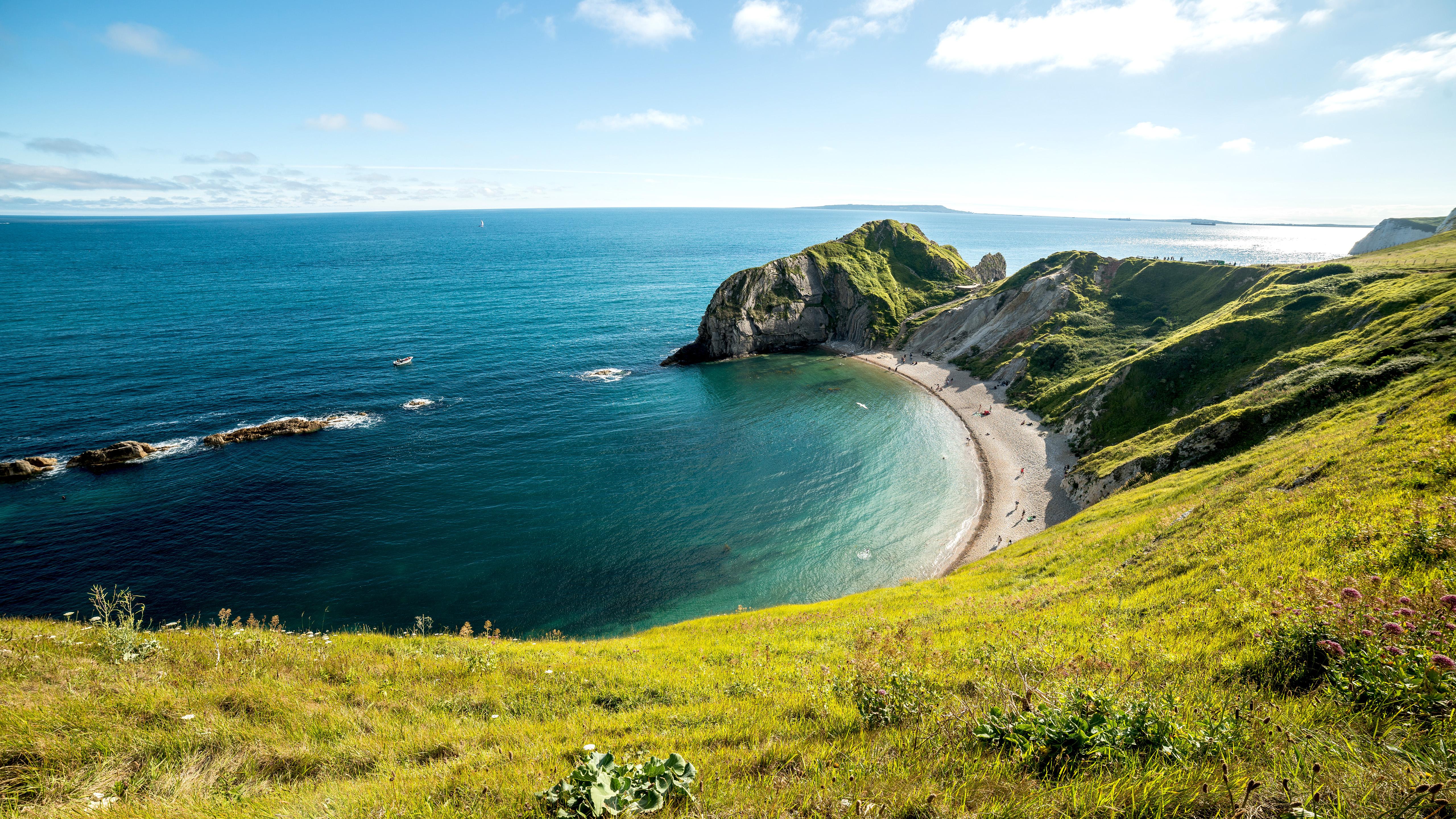 Beach Cliff Coastline Durdle Door Horizon Sea Sky 5120x2880