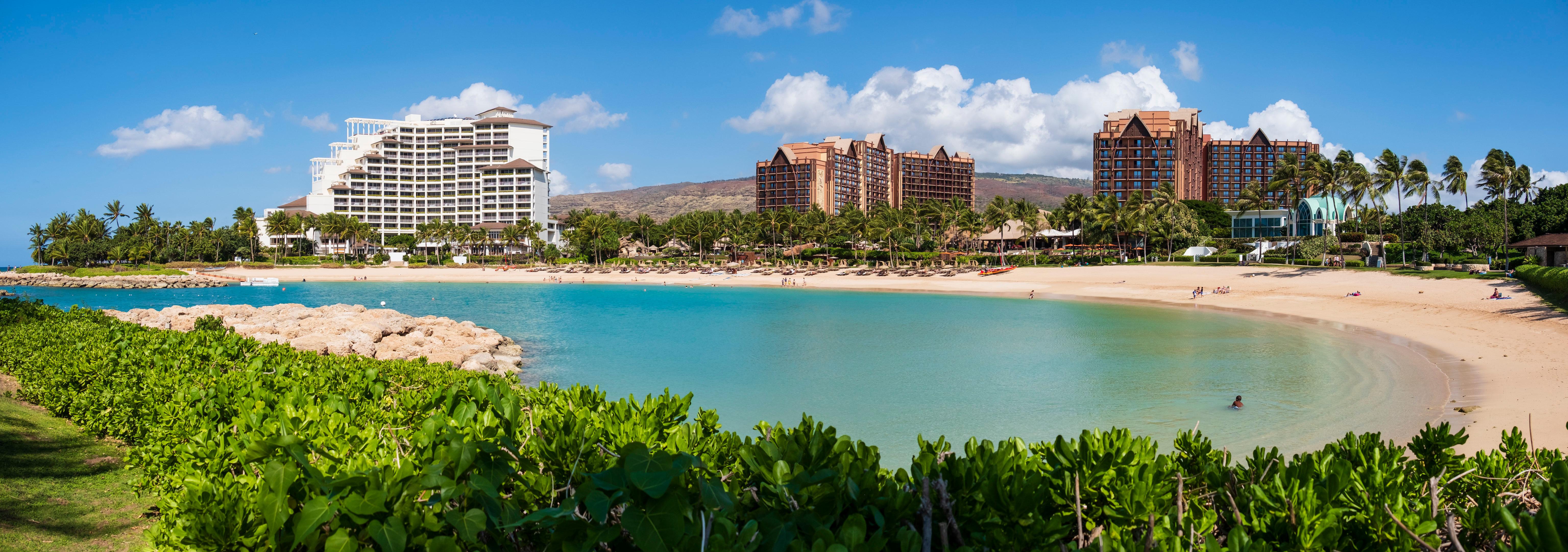 Sea Beach Panorama Landscape USA Hawaii Oahu Palm Trees City Outdoors 6143x2163