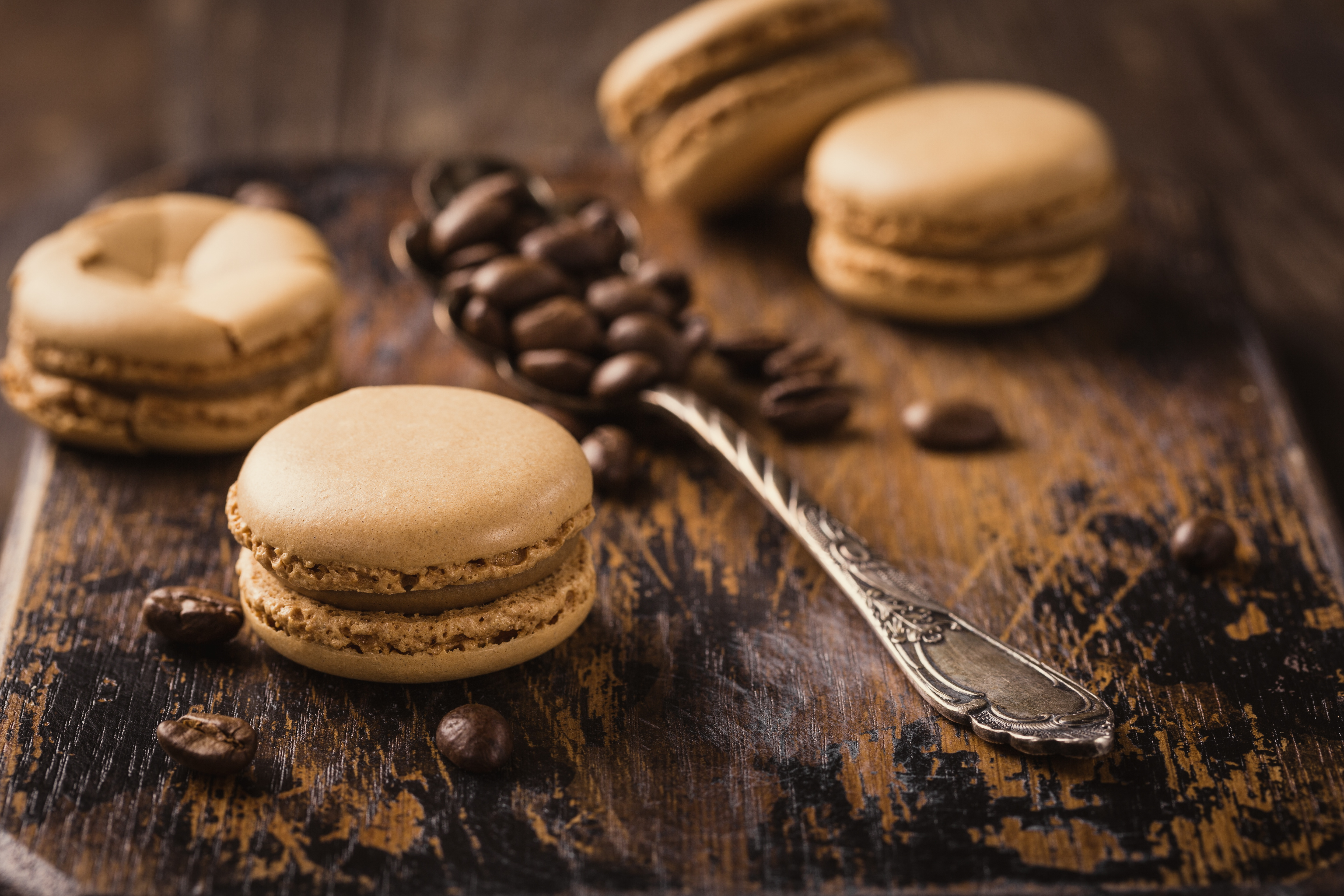 Coffee Beans Depth Of Field Macaron Spoon Still Life Sweets 5760x3840