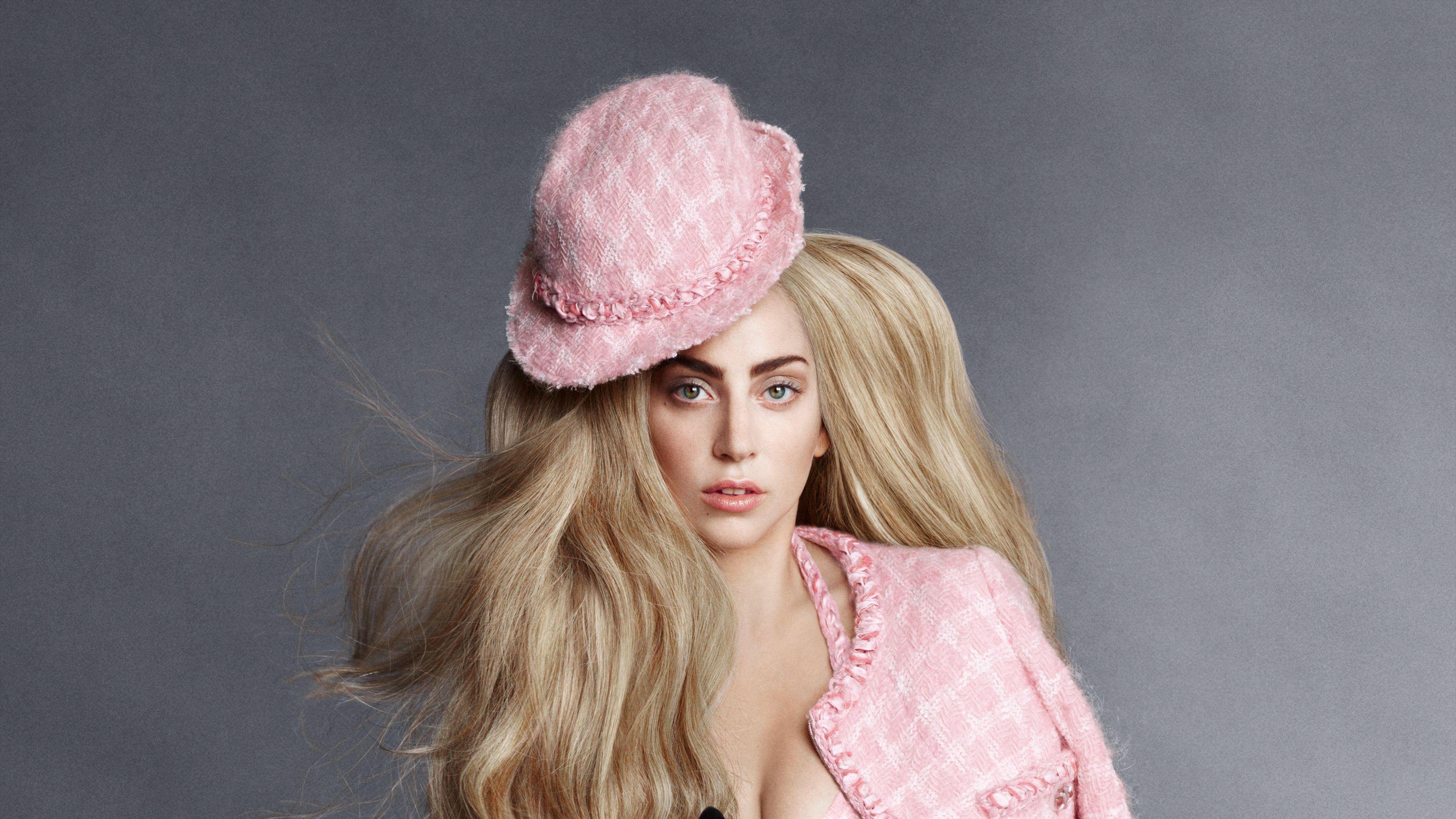 American Blonde Hat Hazel Eyes Lady Gaga Singer 3492x1964