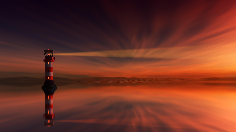 Light Lighthouse Reflection Sunset 6000x3375