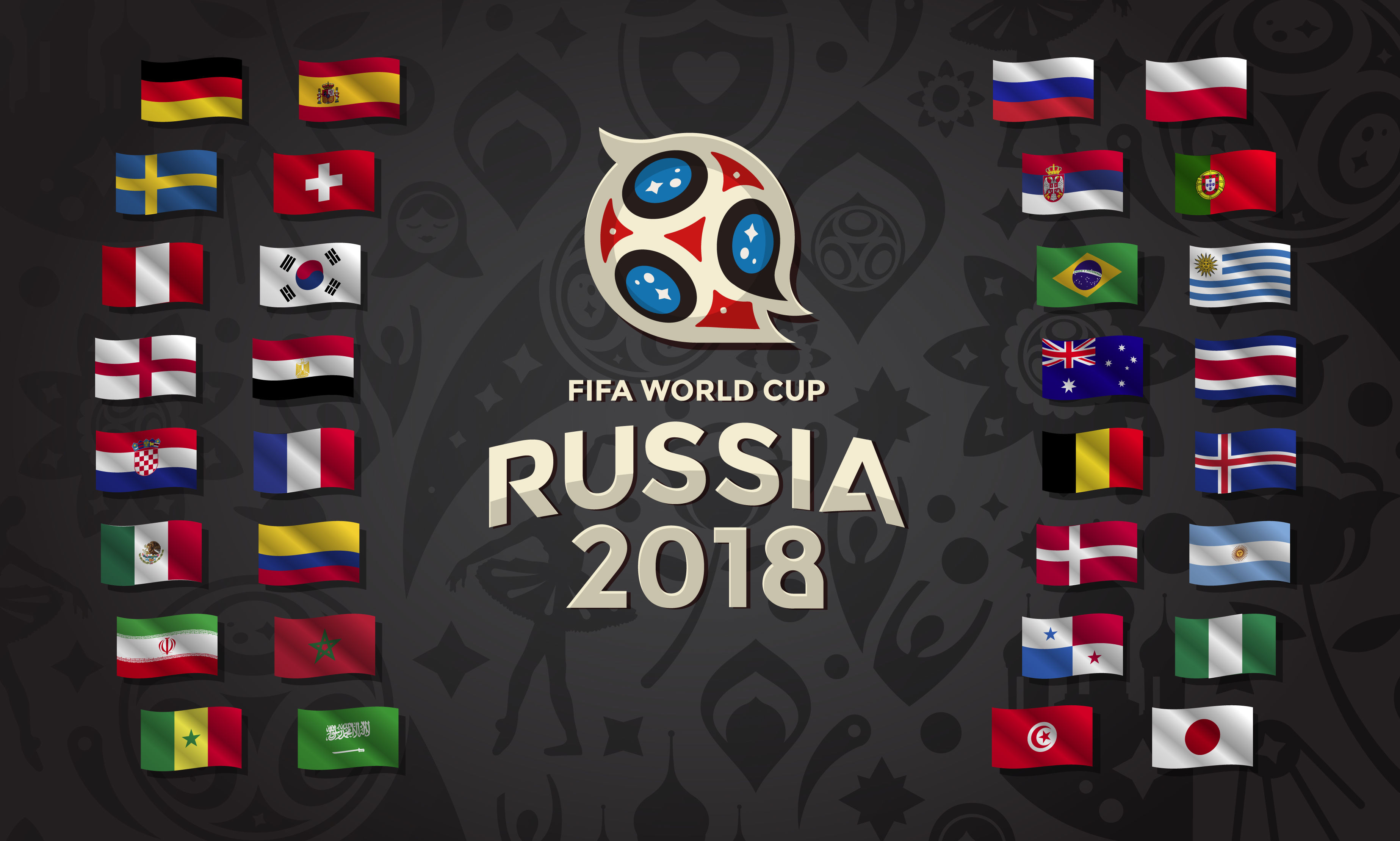Argentina Australia Belgium Brazil Columbia Costa Rica Croatia Denmark Egypt England Fifa Flag Franc 3694x2219