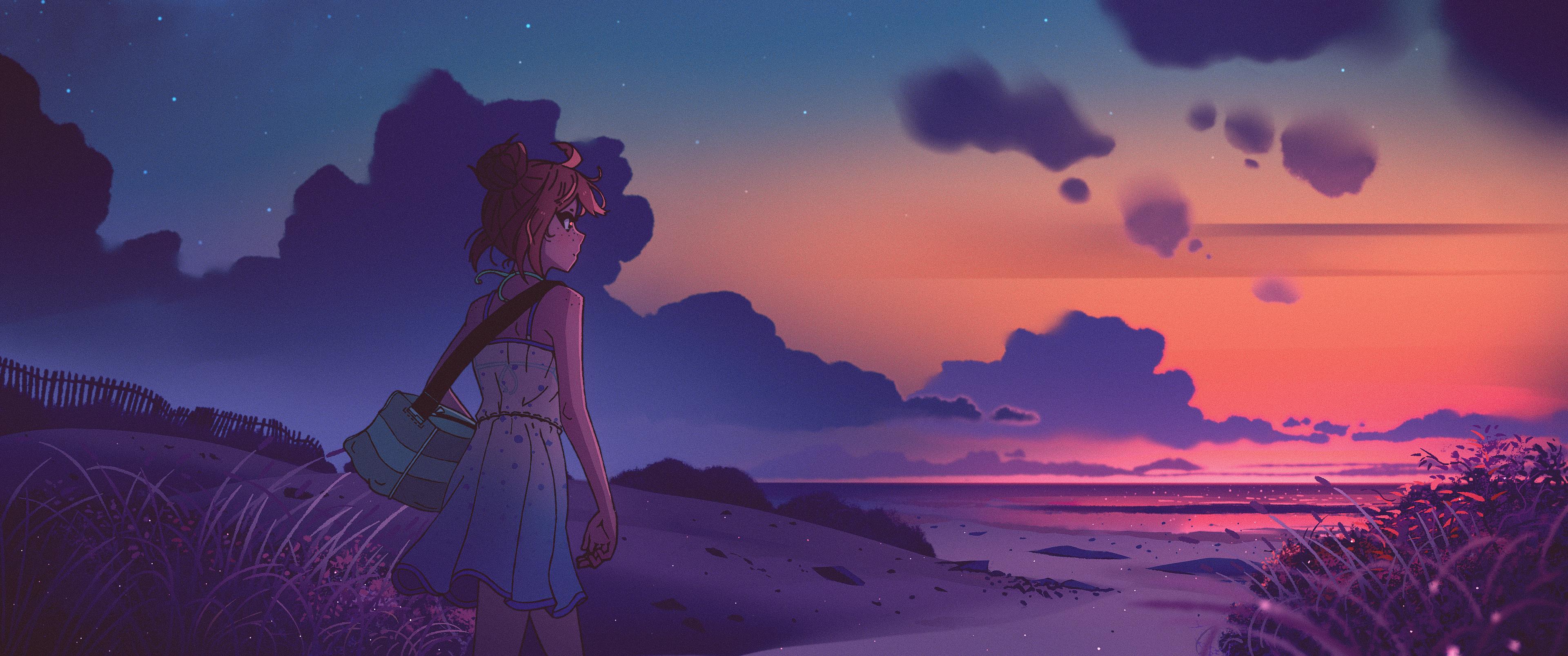 Artwork SouredApple Landscape Sunset Clouds Women Beach 3840x1608