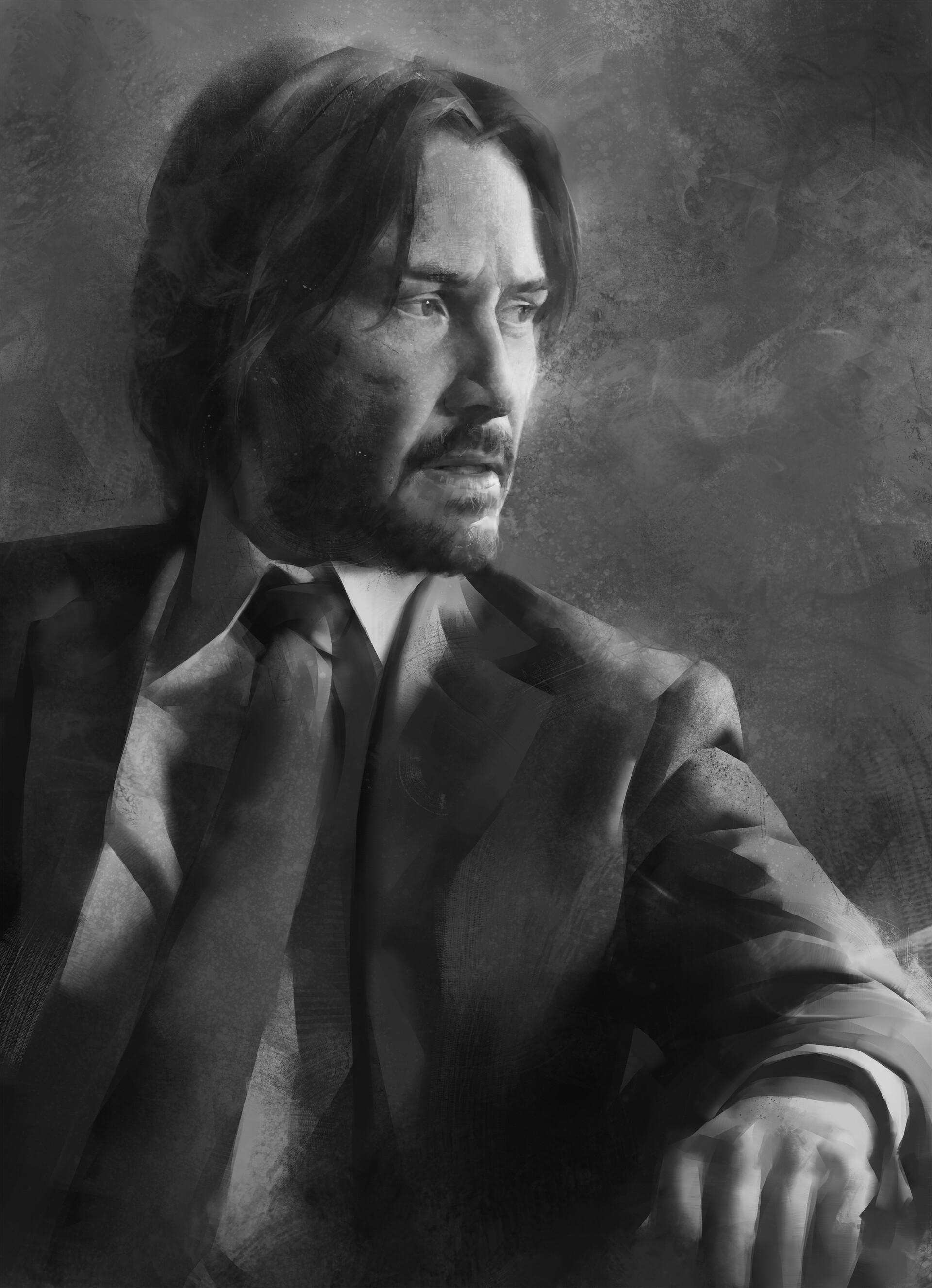 Tim Liu Digital Painting Digital Art Portrait Display Fan Art Looking At The Side Keanu Reeves ArtSt 1920x2652