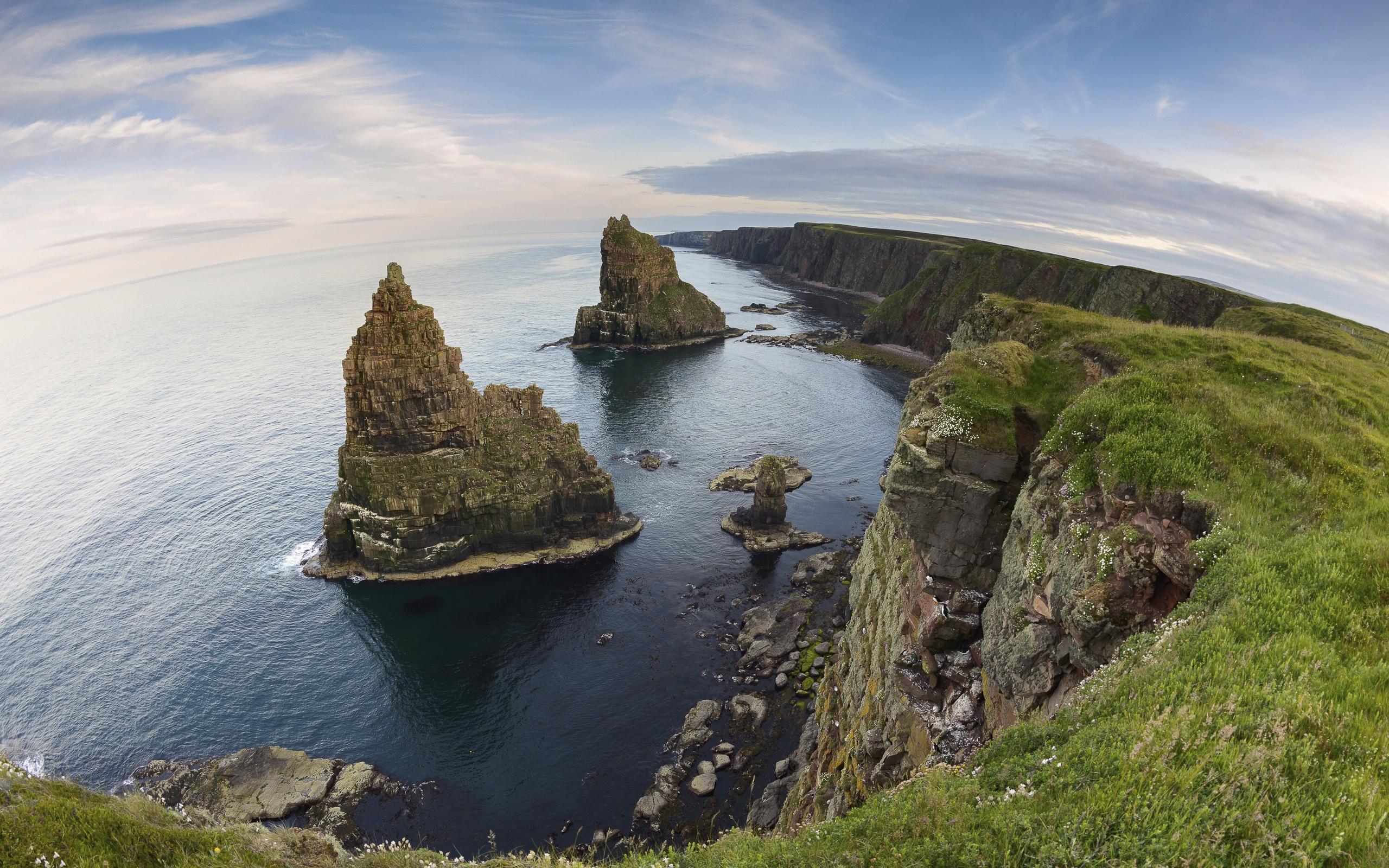 Cliff Coast Coastline Earth Fisheye Horizon Ocean Scotland Sea 2560x1600