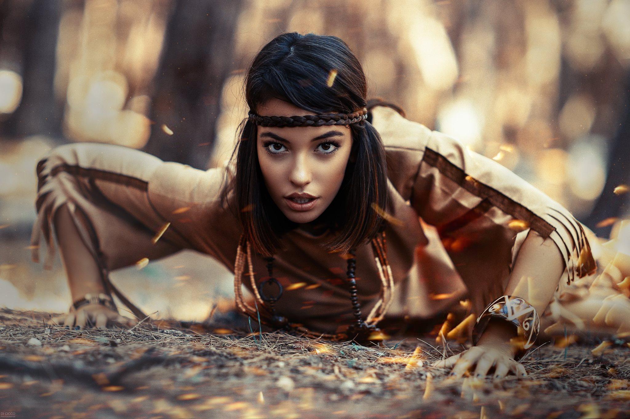 Brown Eyes Brunette Depth Of Field Girl Model Native American Woman 2048x1365