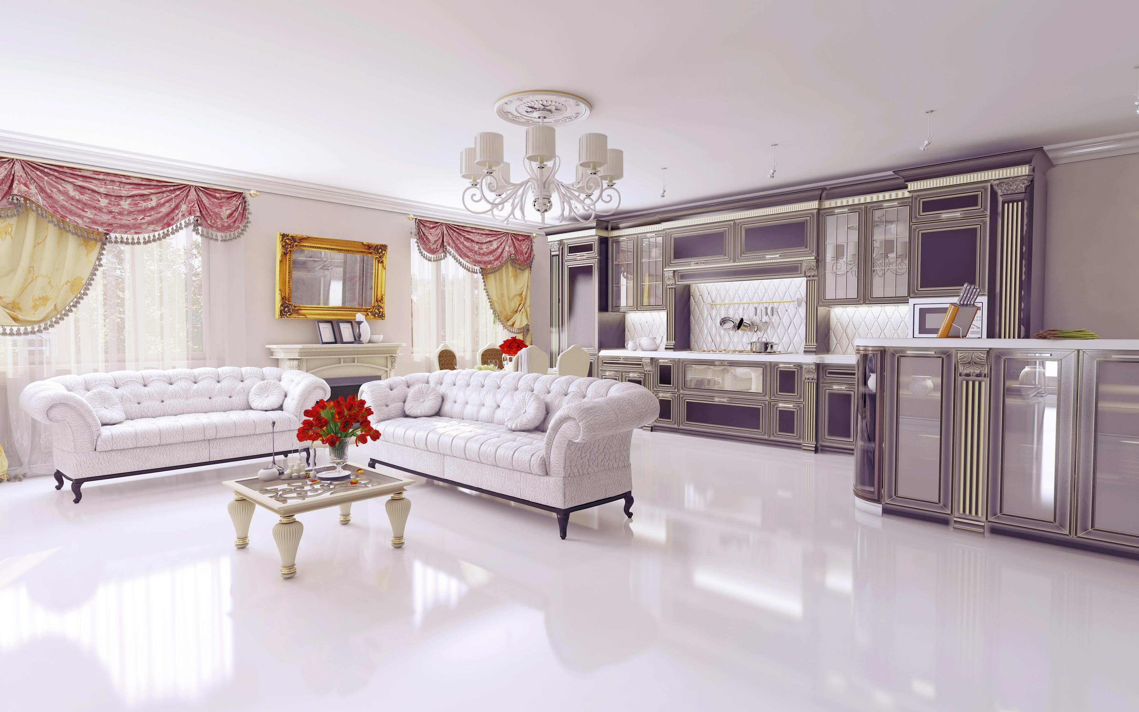 Chandelier Furniture Living Room Room Sofa 3840x2400