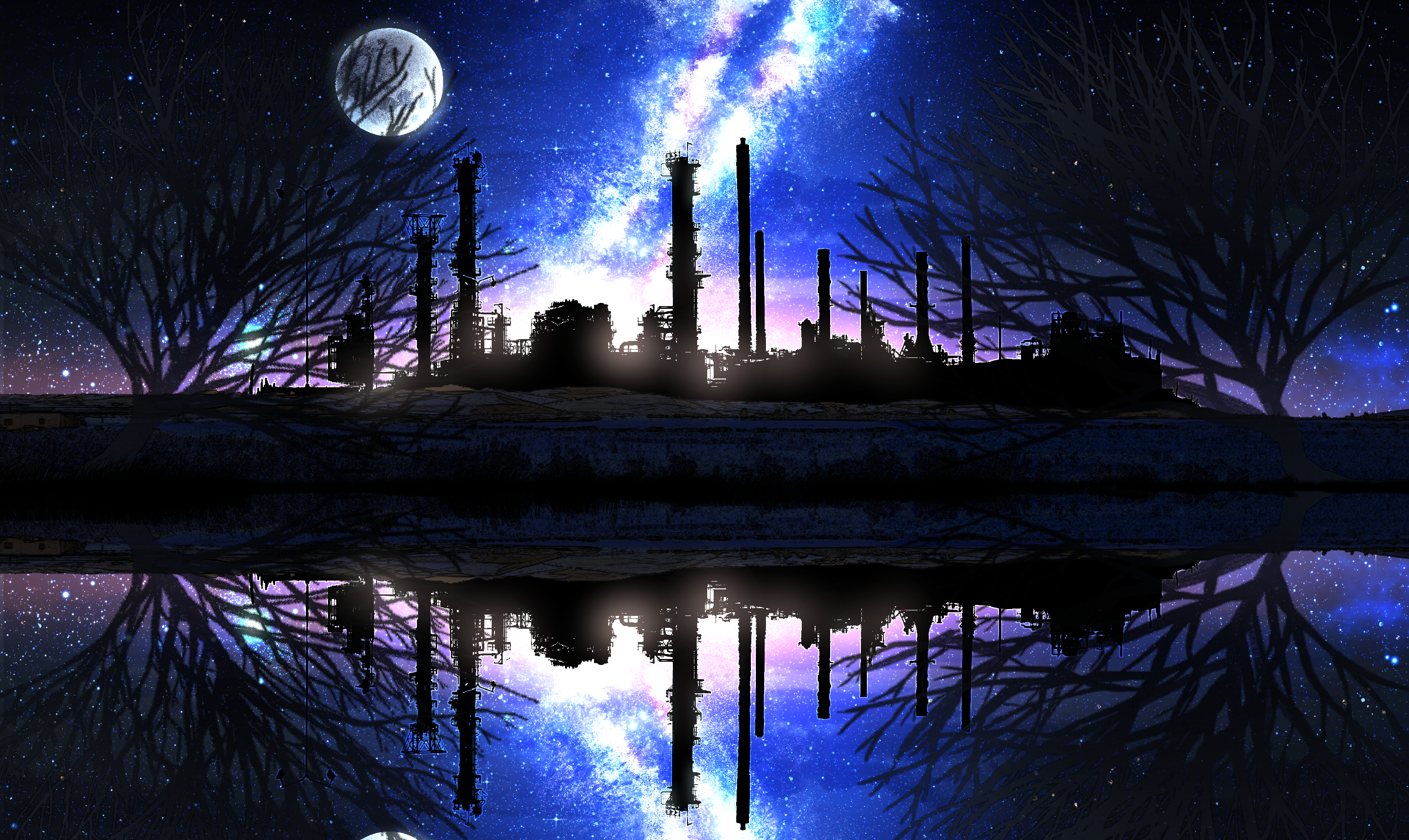 Factory Lake Moon Reflection Starry Sky 3072x1833