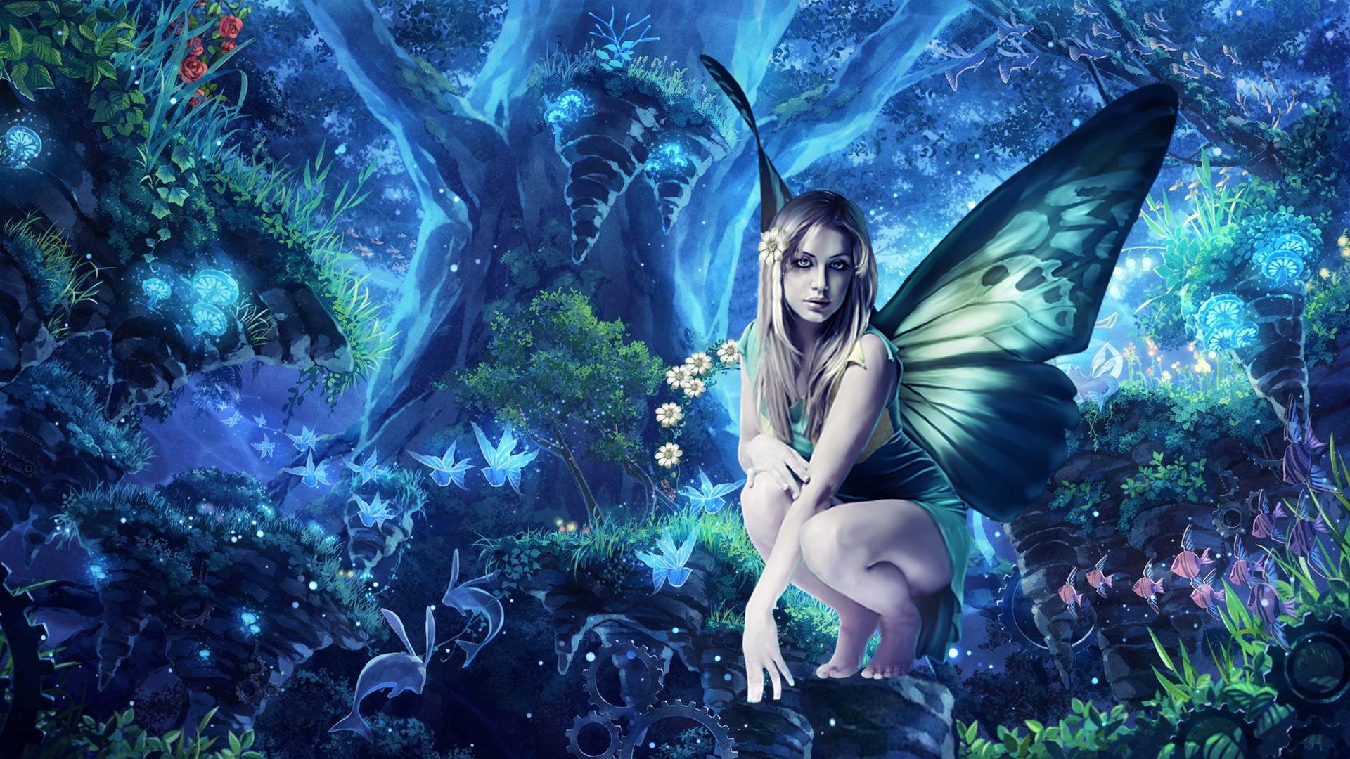 Fairy Flower Forest Girl Tree Wings Woman 1920x1080