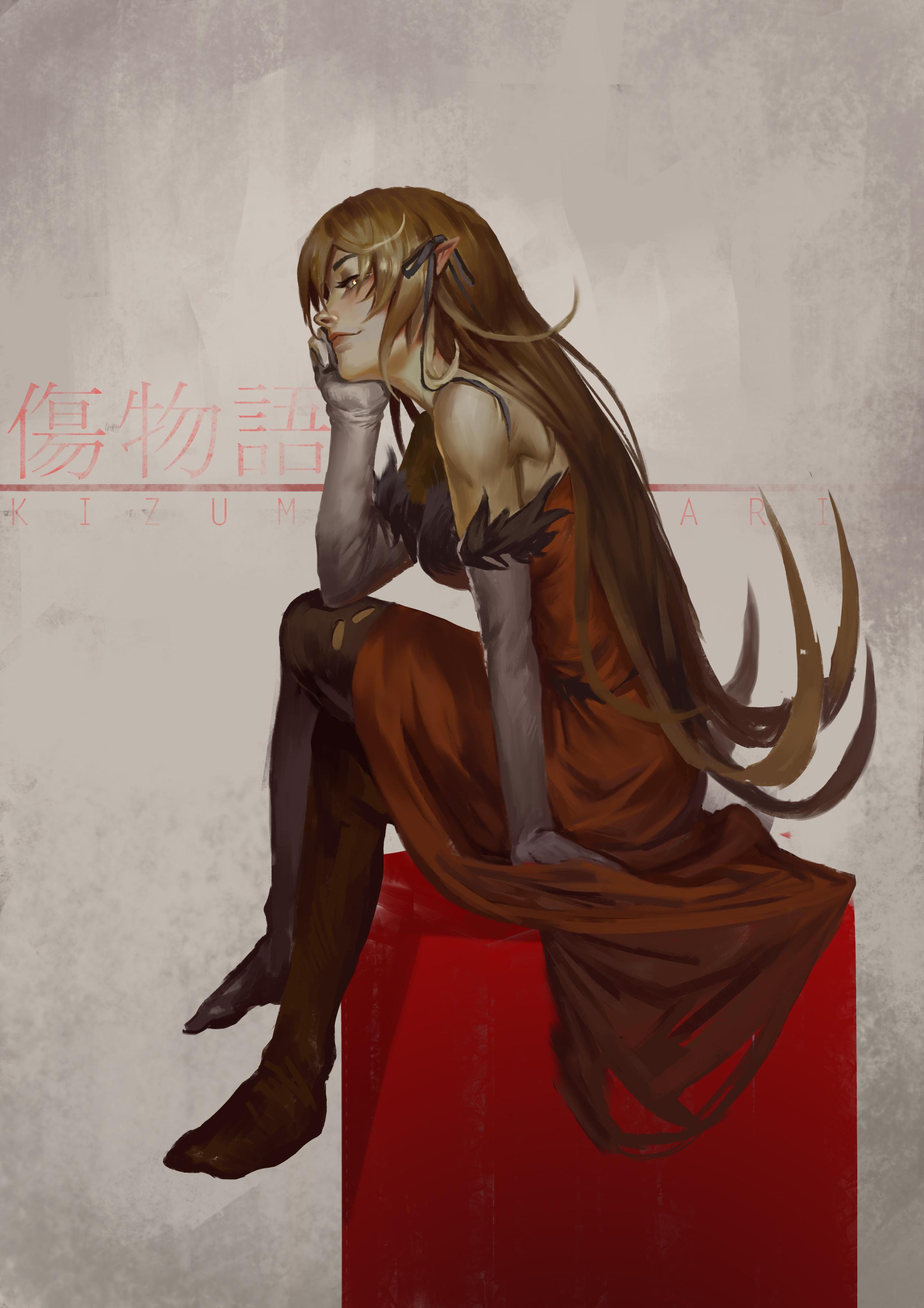 Monogatari Series Red Dress Barefoot Long Sleeves Long Hair Blond Hair Monster Girl Vampires Anime G 2480x3508