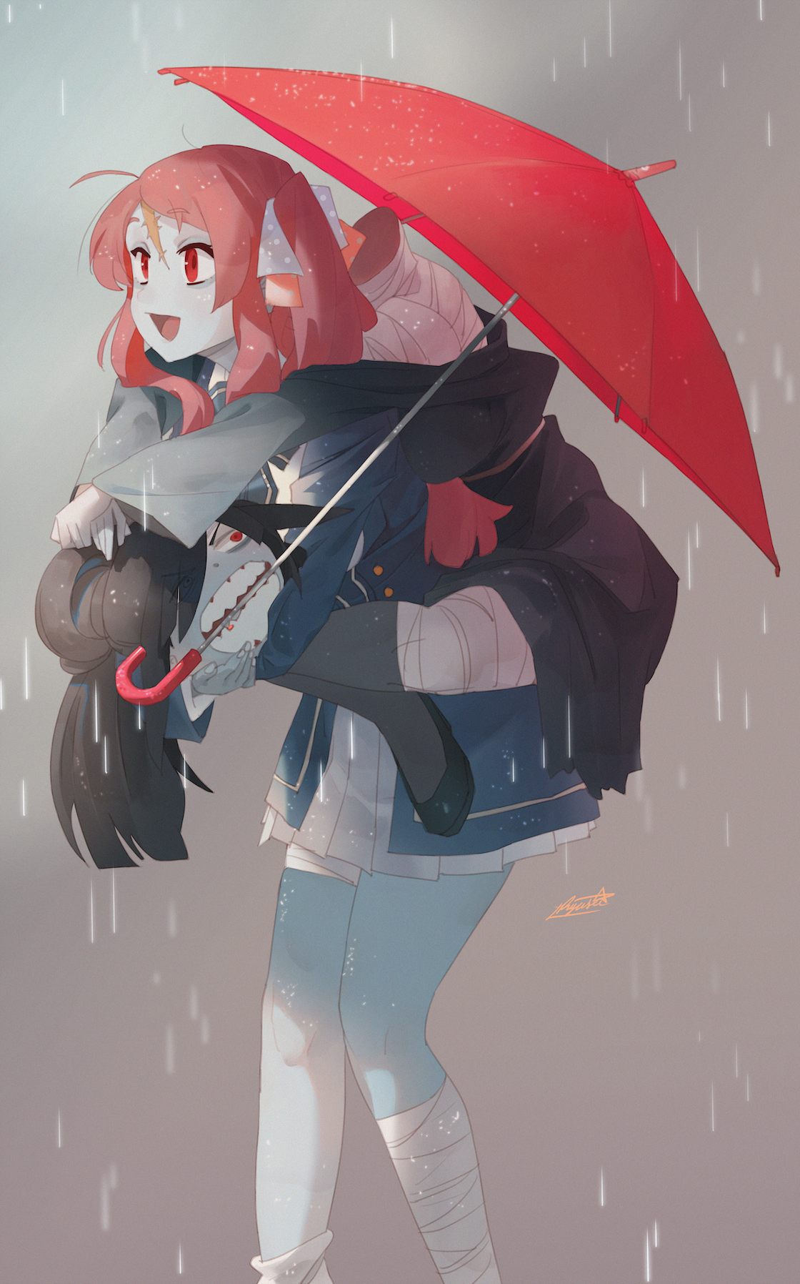 Zombieland Saga Monster Girl Scars Bandage JK Zombies Open Mouth Red Umbrella Anime Girls Red Eyes H 1120x1796